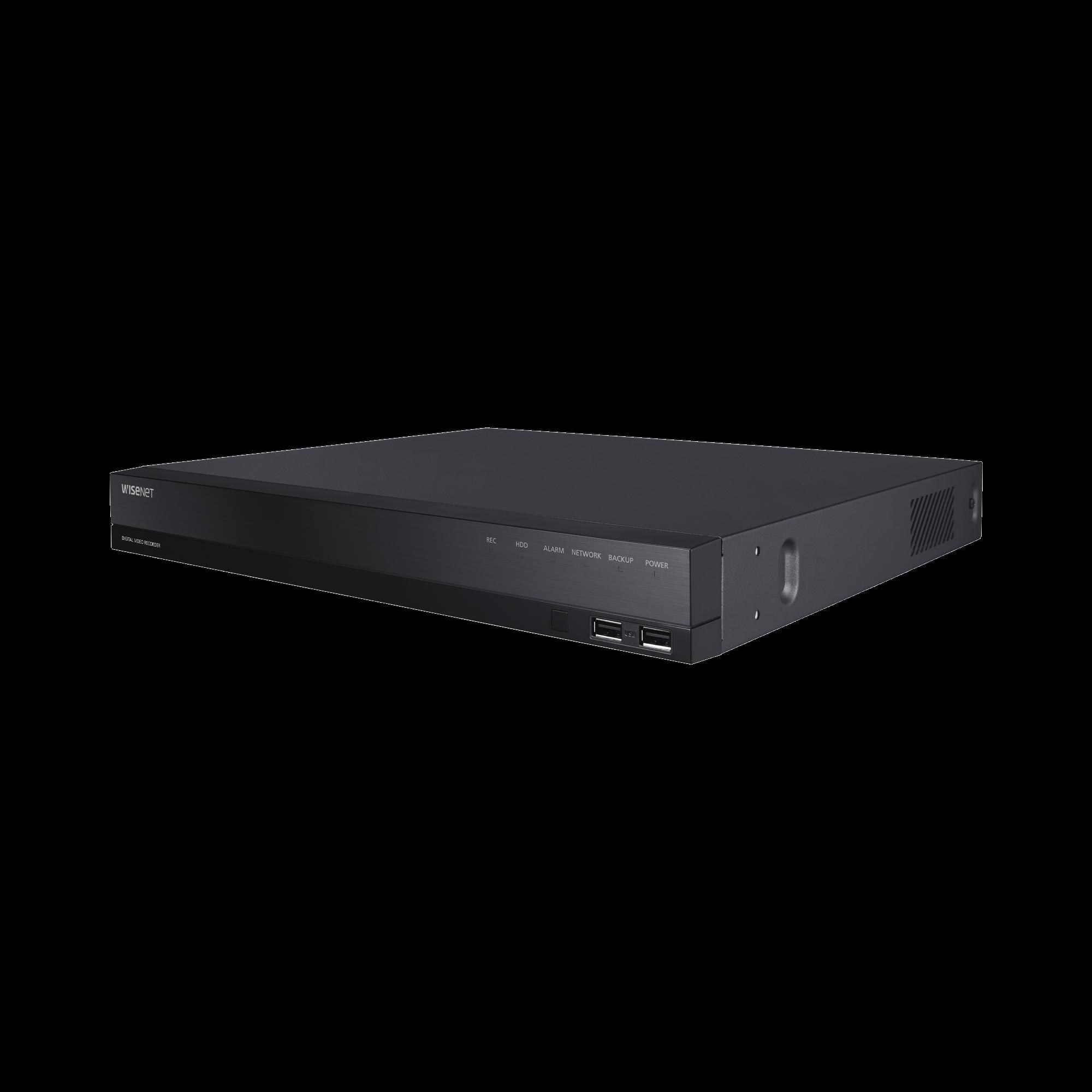 DVR 18 Canales (16 Analogicos + 2 IP) hasta 8 Megapixel / Soporta 4 Tecnologías (AHD, TVI, CVI, CVBS)  / Hasta 2HDDs / Entradas y Salidas de Audio y Alarma