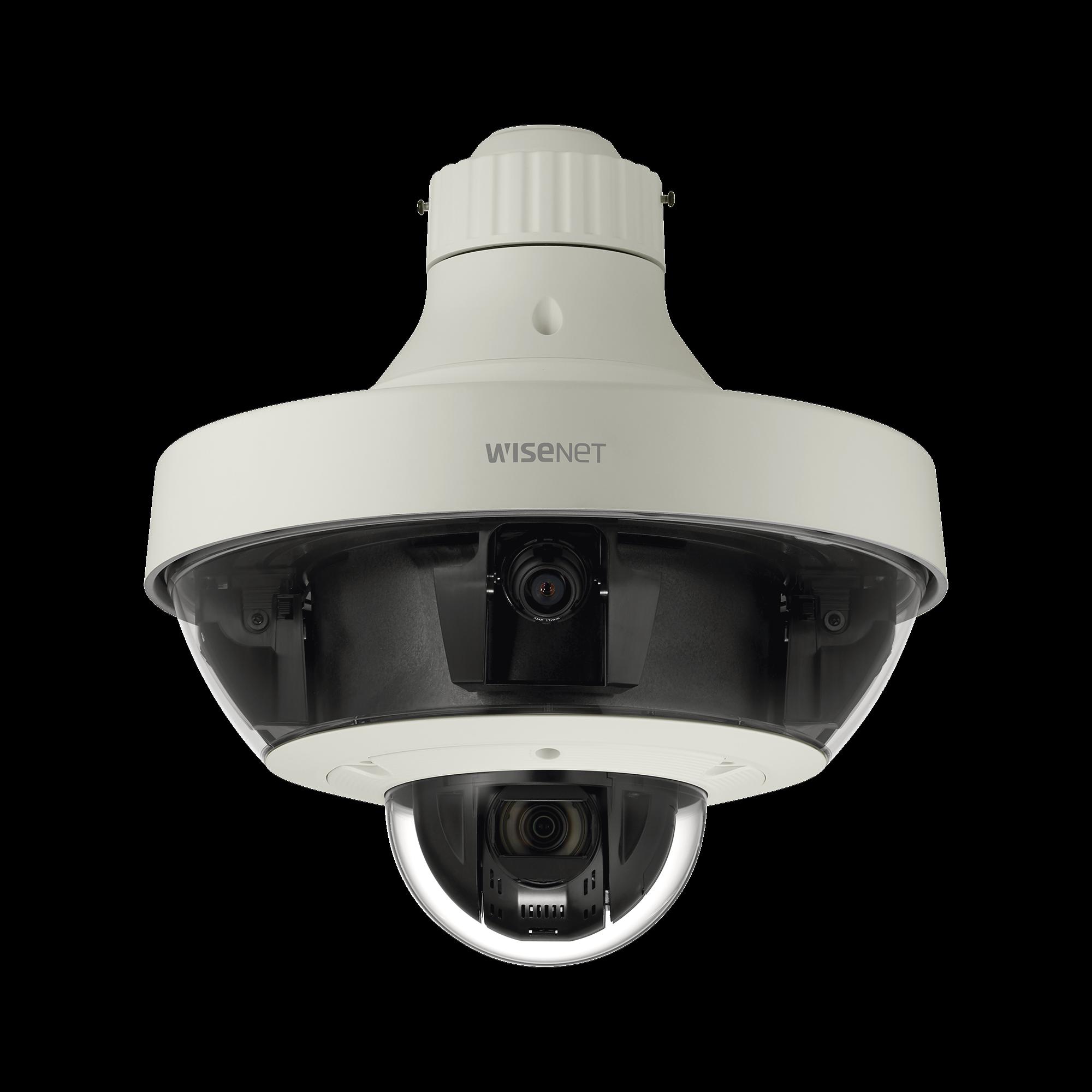 Cámara IP Multisensor 8 - 20 MP (4 sensores de 2 o 5 MP) lentes intercambiables con PTZ 2 MP 32X / Audio de dos vias / Hasta 5 tarjetas SD de 256 GB / WDR de hasta 150dB / IP66 / IK10