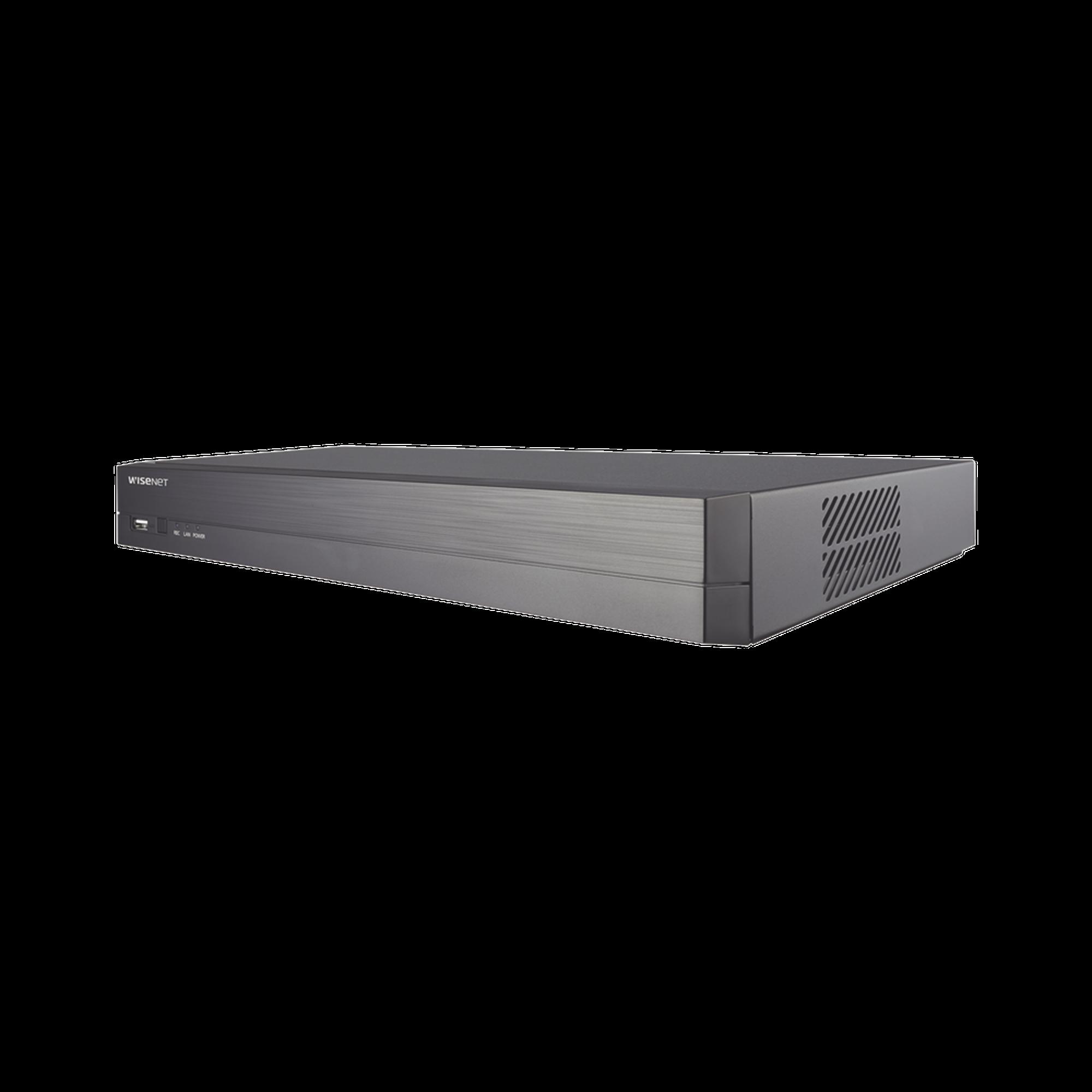 NVR 8 Megapíxel / 4 canales / H.265 / P2P Wisenet / 4 puertos PoE / Incluye 1Tb