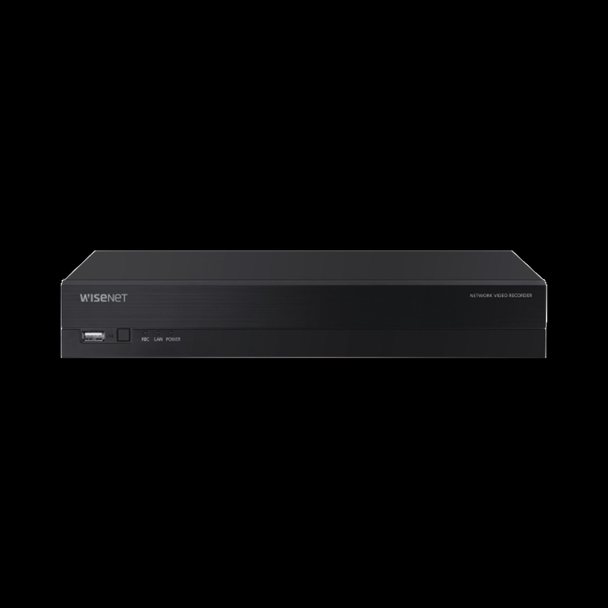 NVR 8 Megapixel / 8 canales / H.265 / P2P Wisenet / 8 puertos PoE