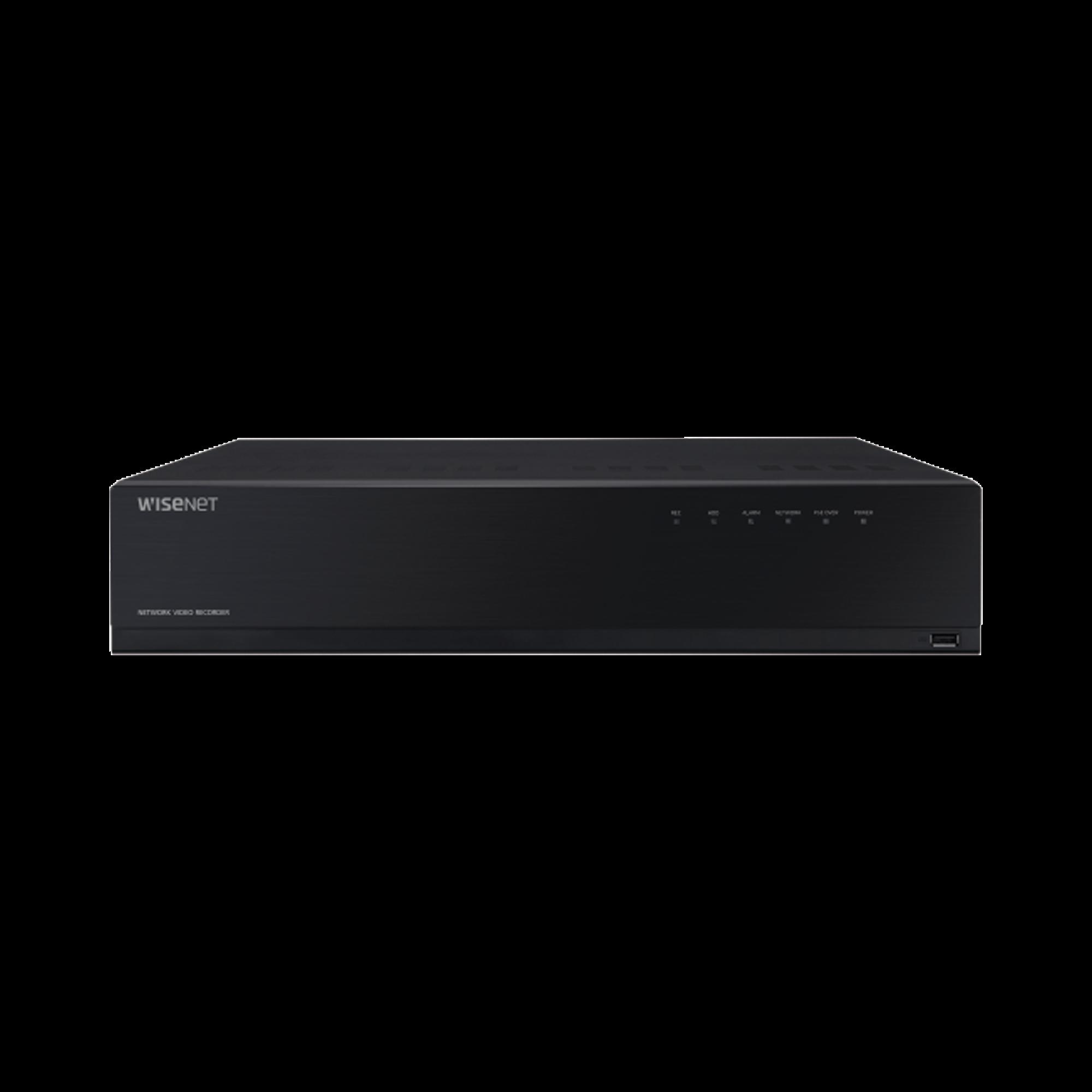 NVR de 12 Megapíxel con Wisenet Wave Embebido / Incluye 4 Licencias / 2TB Incluidos / 16 canales / 16 puertos PoE+ / H.265 & WiseStream / E/S de alarma