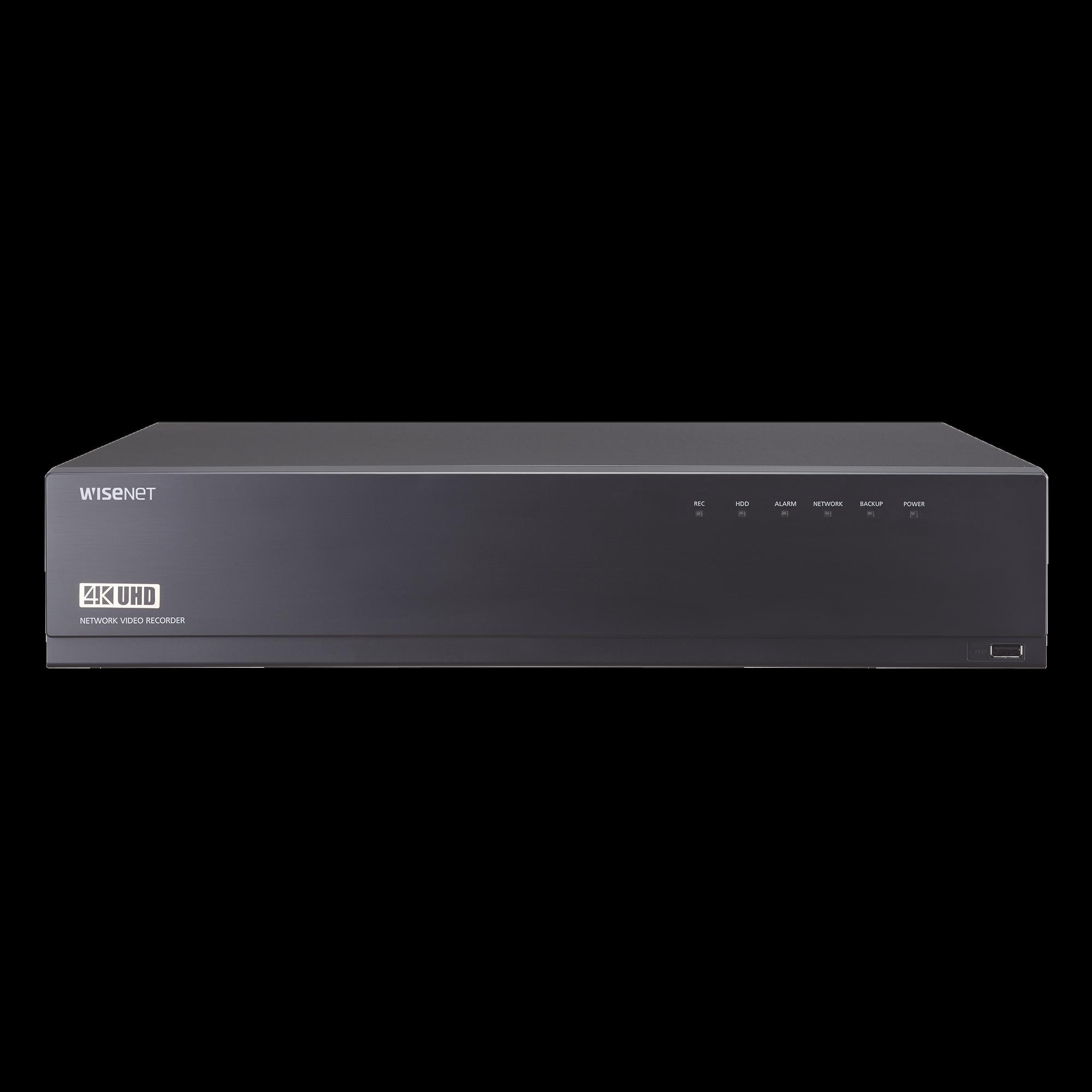 NVR de 16 canales / 12MP / Hasta 4 Discos Duros / Switch PoE+ 16 puertos / Wisenet P2P / H.265 & WiseStream