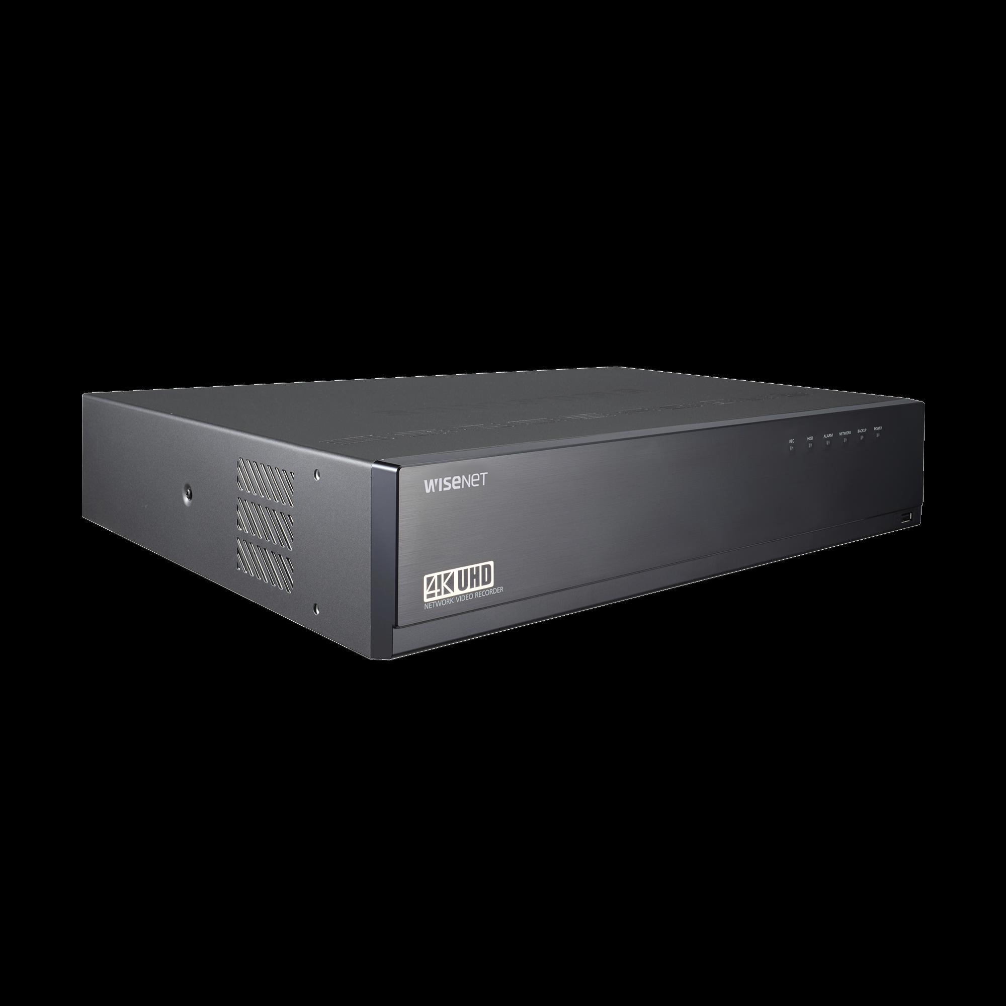 NVR de 32 canales / 12MP / Hasta 8 Discos Duros / H.265 & Wisestream / Wisenet P2P