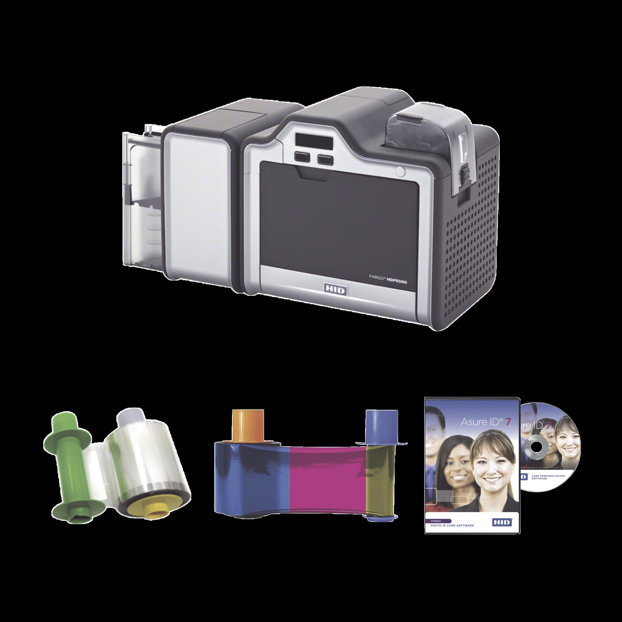 Kit Impresora Retransferencia HDP5000/ Doble Lado/ Incluye Ribbon, Film y Software/ 3 Años Garantía