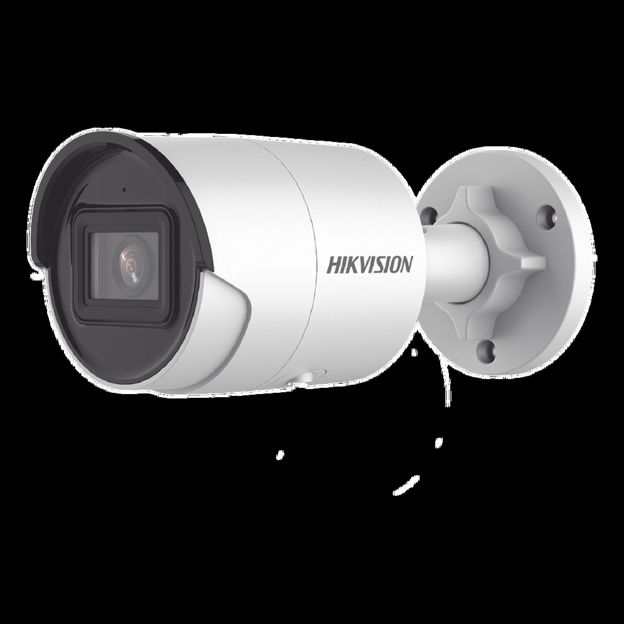 Bala IP 4 Megapixel / Lente 2.8 mm / 40 mts IR EXIR / IP67 / WDR 120 dB / PoE / Micrófono Integrado / Videoanaliticos (Filtro de Falsas Alarmas) / Ultra Baja Iluminación