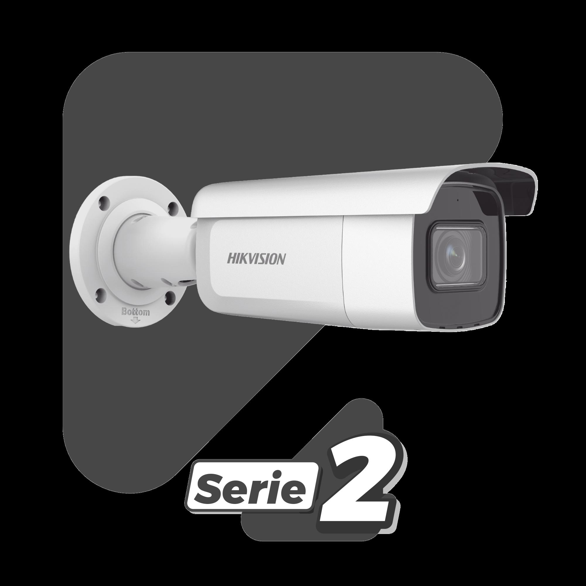 Bala IP 2 Megapixel / Lente Mot. 2.8 a 12 mm / 60 mts IR EXIR / Exterior IP67 / IK10 /  WDR 120 dB / PoE / Videoanaliticos (Filtro de Falsas Alarmas) / Ultra Baja Iluminación / Entrada y Salida de Audio y Alarma