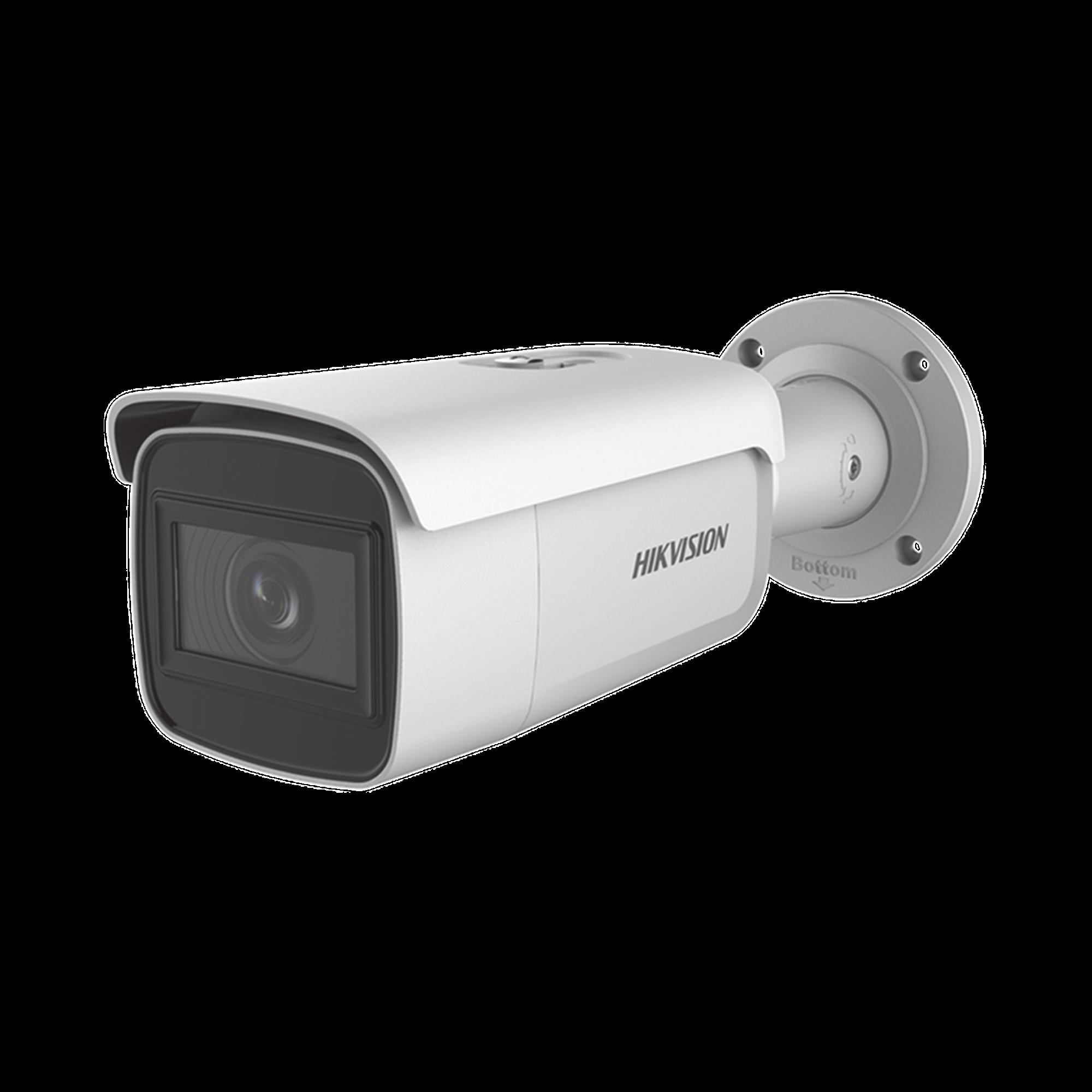 Bala IP 4 Megapixel / Lente Mot. 2.8 a 12 mm / 60 mts IR EXIR / Exterior IP67 / IK10 /  WDR 120 dB / PoE / Videoanaliticos (Filtro de Falsas Alarmas) / Ultra Baja Iluminación / Entrada y Salida de Audio y Alarmas