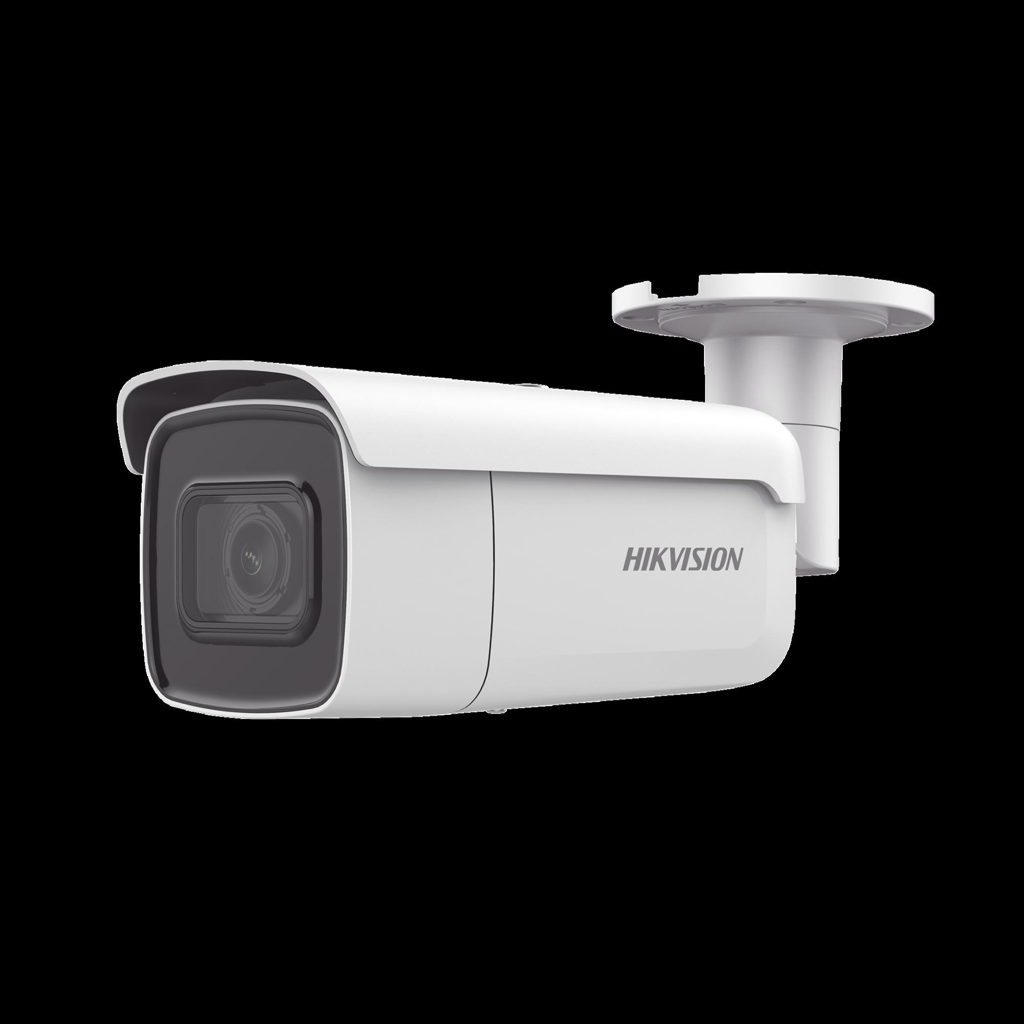 Bala IP 8 Megapixel (4K) / Serie PRO + /  50 mts IR EXIR / Lente Mot. 2.8 a 12 mm / Ultra Baja Iluminación IP67 / IK10 / Videoanaliticos Integrados / WDR 120dB / Audio y Alarmas / PoE+