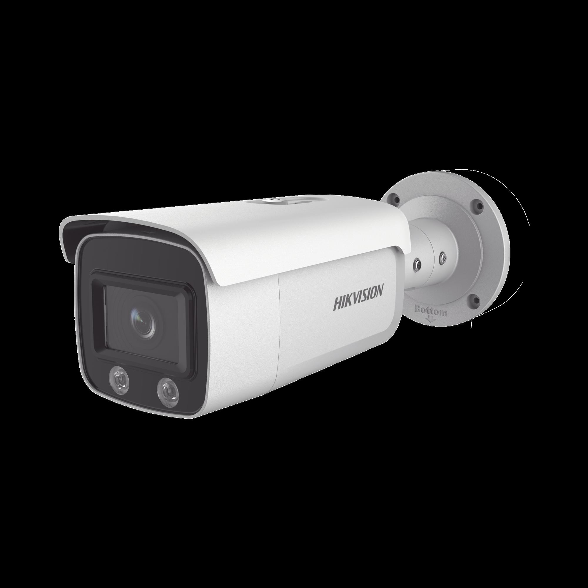 Bala IP 4 Megapixel / Imagen a Color 24/7 / PoE / Lente 4 mm / Luz Blanca 30 mts / IP67 / WDR 120 dB / Entrada y Salida de Audio y Alarmas