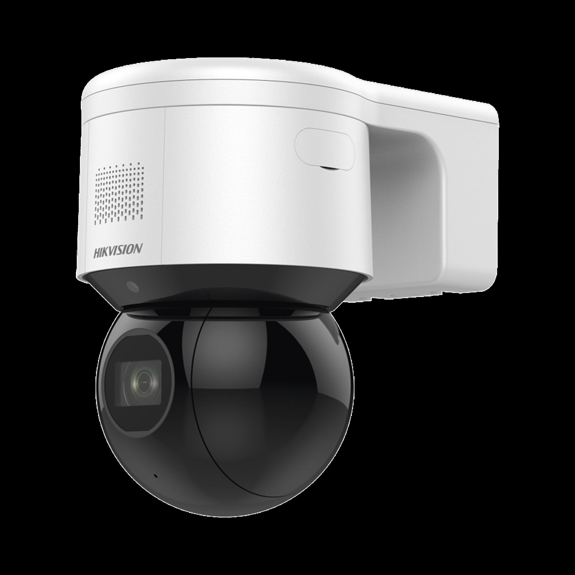 PTZ IP 4 Megapixel / 4X Zoom óptico / 50 mts IR EXIR / Luz Estroboscópica / Sirena Integrada / WDR 120 dB / PoE+ / IP66 / Ultra Baja Iluminación / Micrófono y Bocina Interconstruido / Micro SD