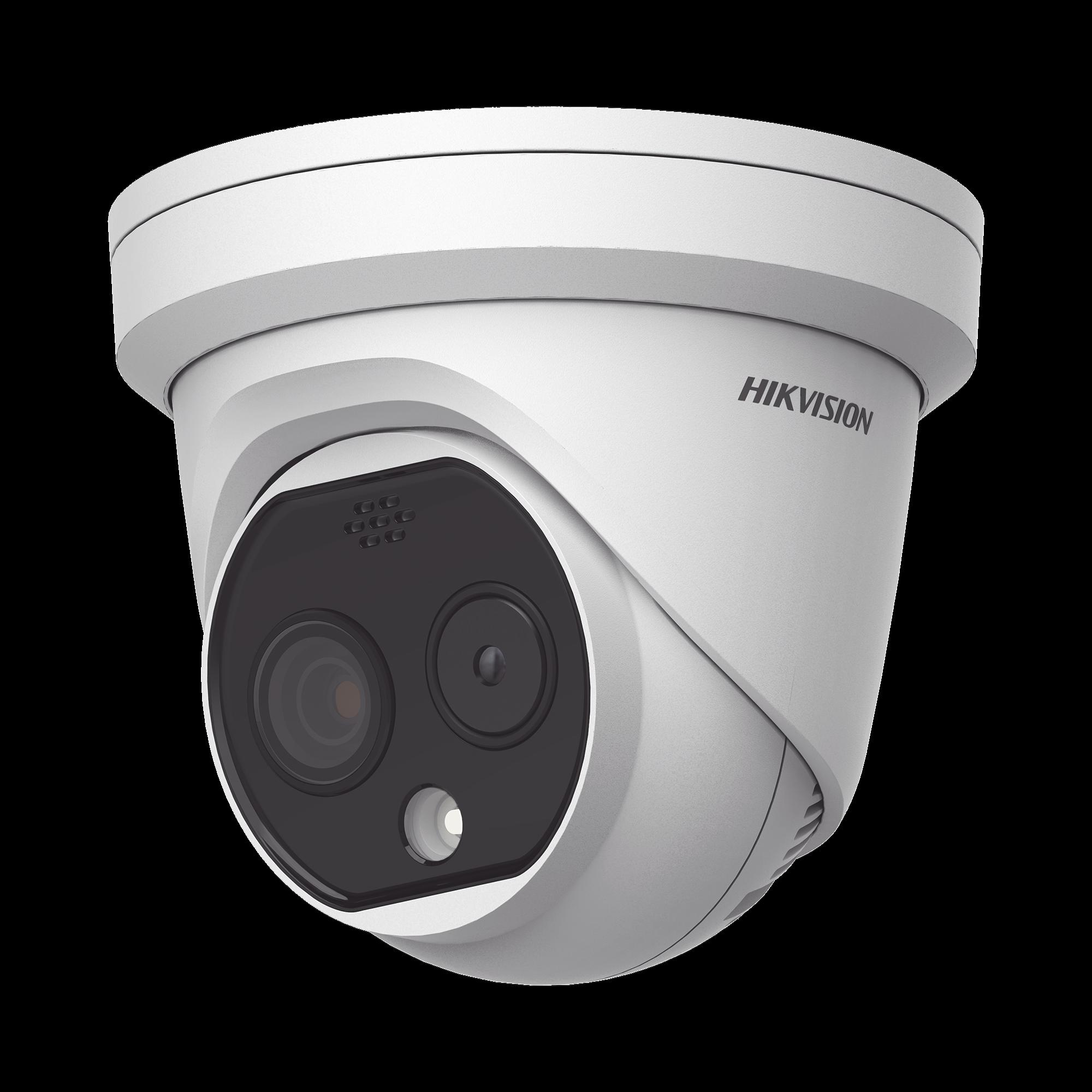 Turret IP Dual / Térmica 1.8 mm ( 160 x 120 ) / óptico 2 mm (4 Megapixel) / 15 mts IR / Exterior IP67 / PoE / Termométrica / Detección de Temperatura / Sirena y Luz Intermitente Integrada