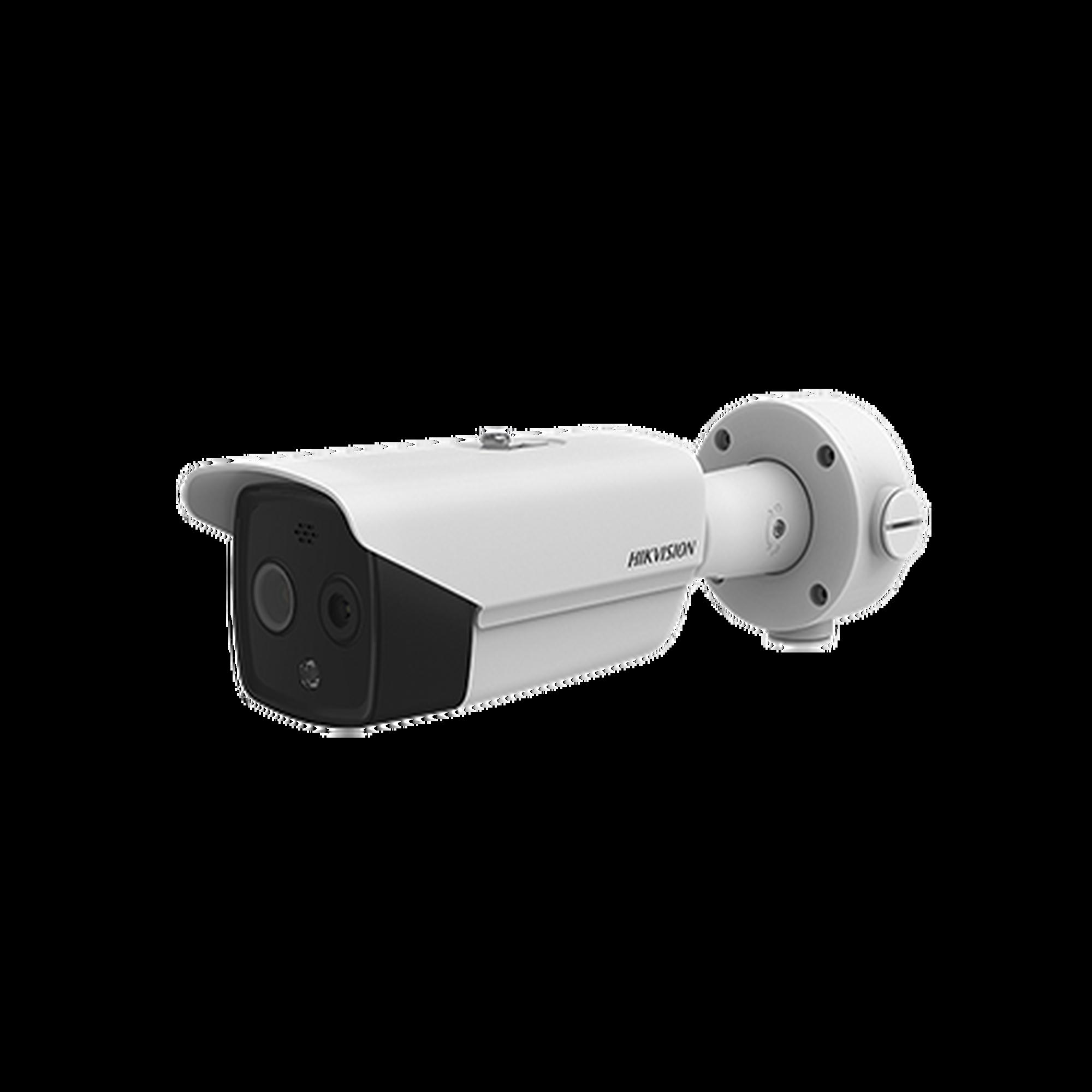 Bullet IP Dual / Térmica 6.2 mm (320X 240 ) / óptico 8 mm (4 Megapixel) / 40 mts IR / IP67 / PoE / Termométrica / Detección de Temperatura