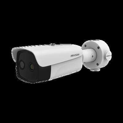 Bala IP Dual / Térmica 35 mm (384 X 288 ) / Óptico 14.8 mm (4 Megapixel) / 40 mts IR /Exterior IP66 / PoE / Termométrica / Detección de Temperatura