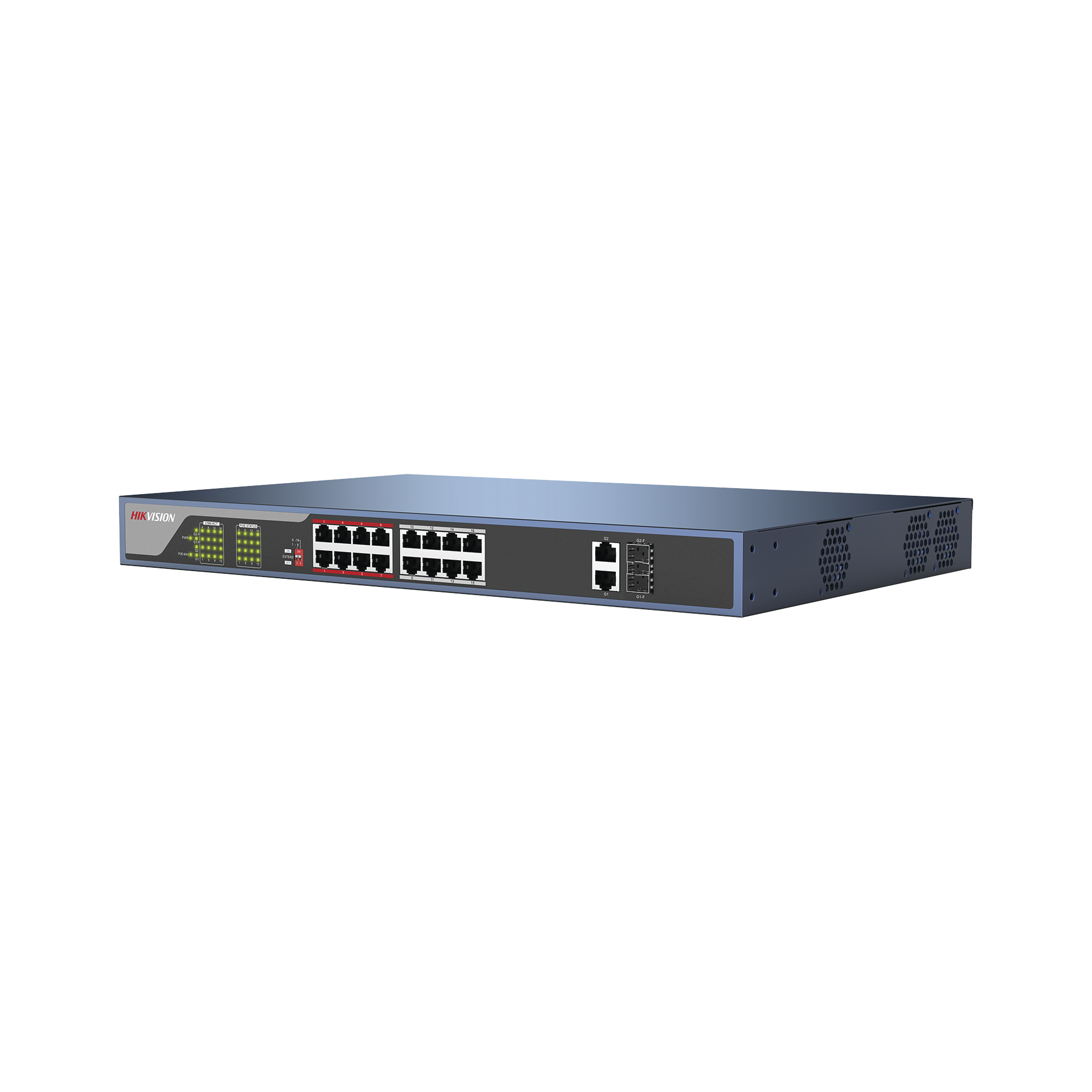 Switch PoE 250 Metros LARGA DISTANCIA / 16 puertos 802.3at (30W) 10/100 Mbps + 2 puertos Gigabit + 2 puertos SFP