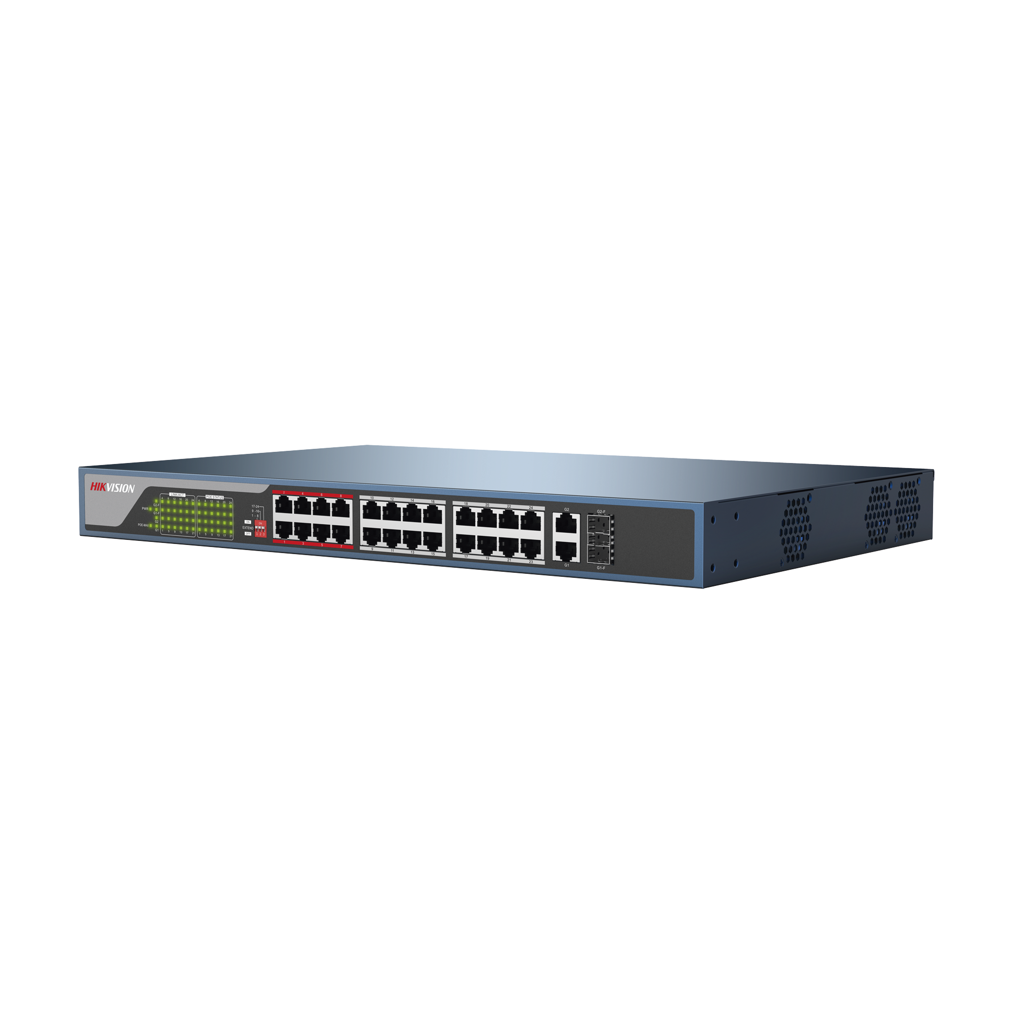 Switch No Administrable 24 Puertos PoE+ 100 Mbps / Switch PoE 250 mts Larga Distancia / 2 Puertos SFP / 2 Puertos Gigabit / 370 Watts Total