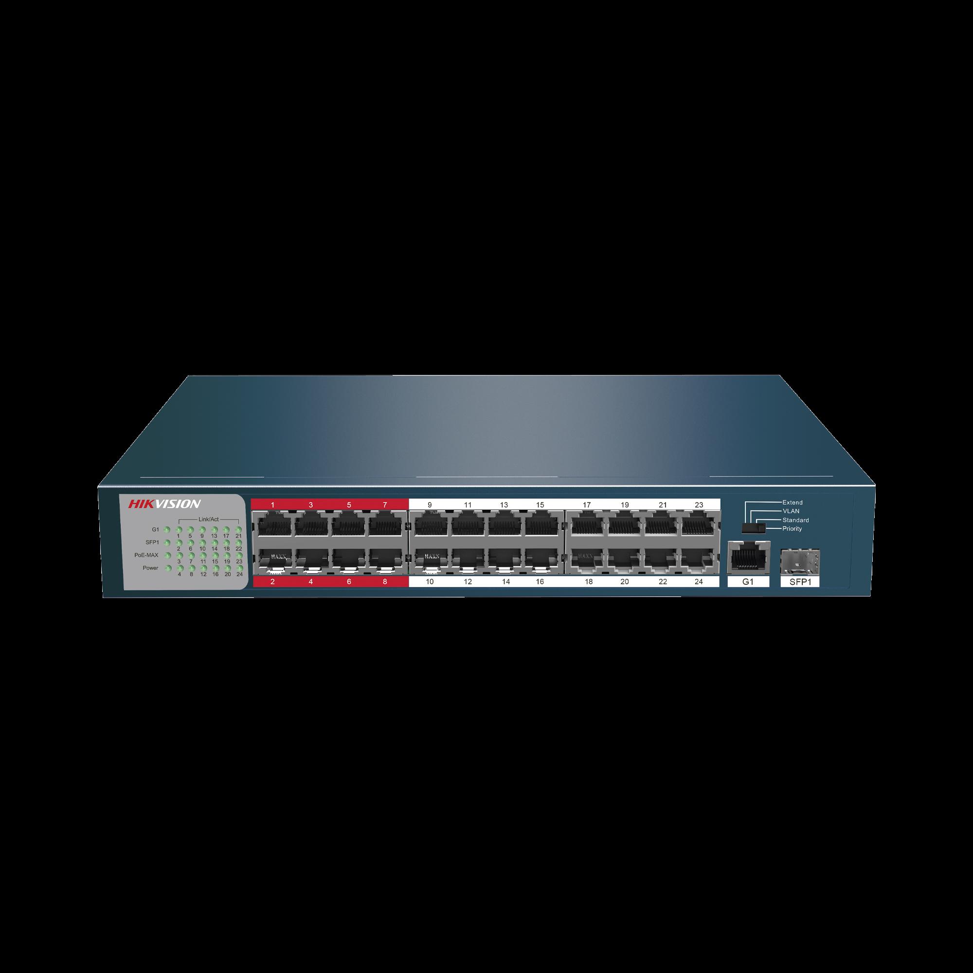 Switch No Administrable 24 Puertos PoE+ 100 Mbps / Switch PoE 250 mts LARGA DISTANCIA / 1 Puerto SFP / 1 Puerto Uplink Gigabit