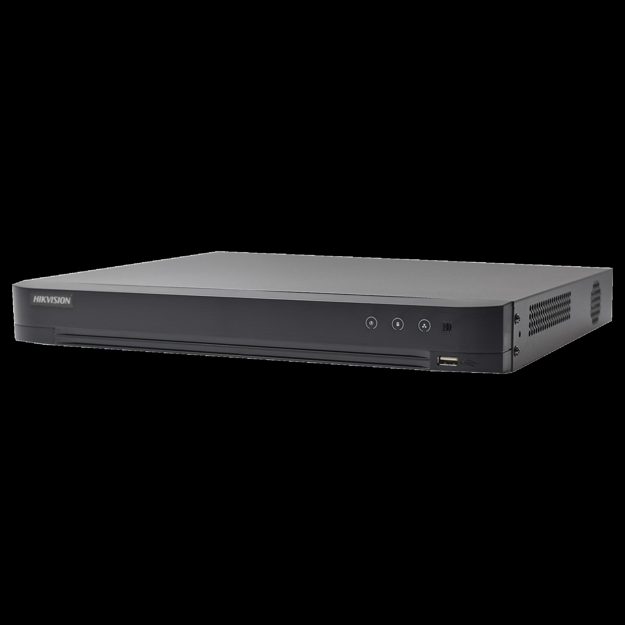 DVR 4 Megapixel / 4 Canales TURBOHD + 2 Canales IP / 1 Bahía de Disco Duro / 1 Canal de Audio / Vídeoanálisis