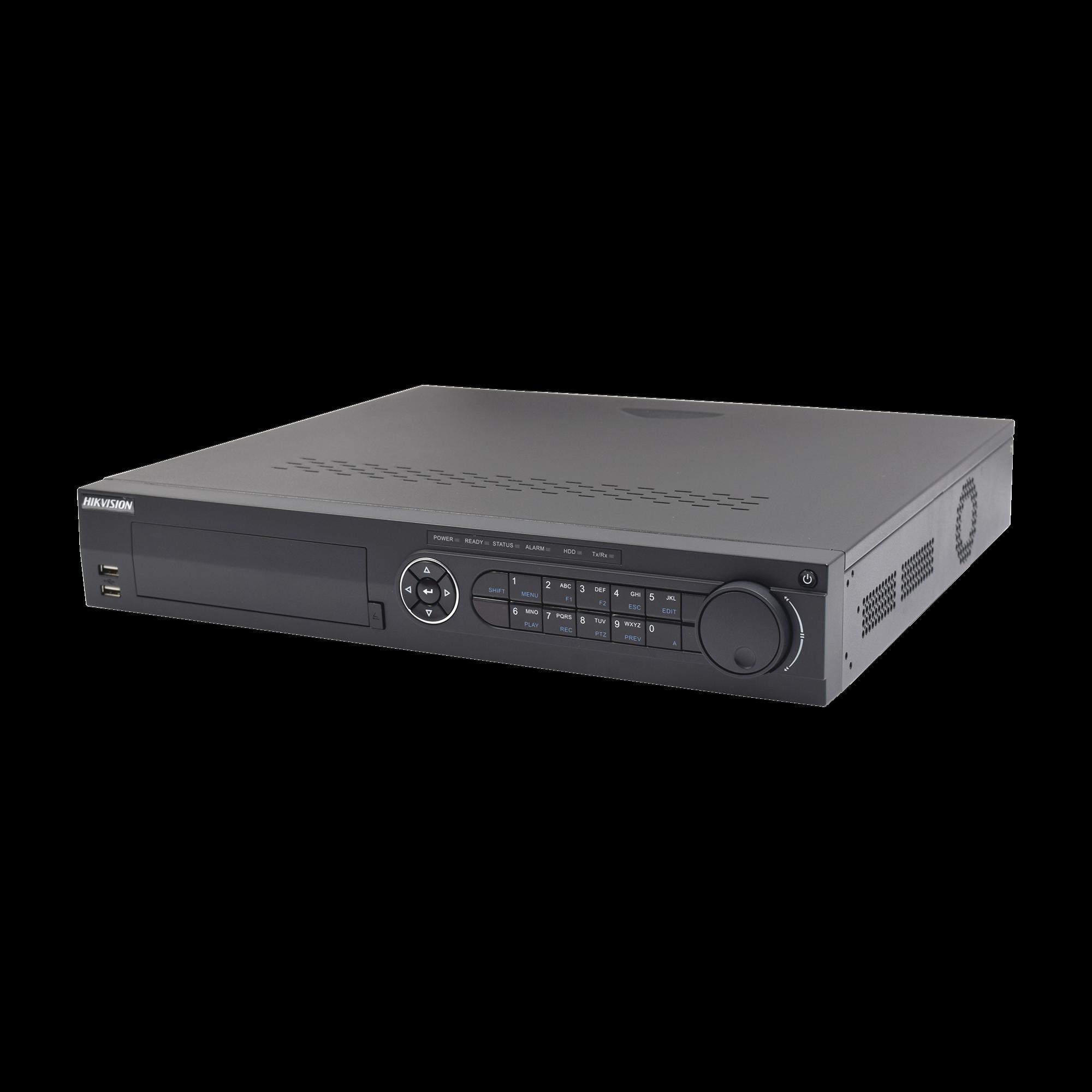 DVR 4 Megapixel / 16 Canales TURBOHD + 8 Canales IP / 4 Bahías de Disco Duro / 4 Canales de Audio / Videoanalisis / 16 Entradas de Alarma