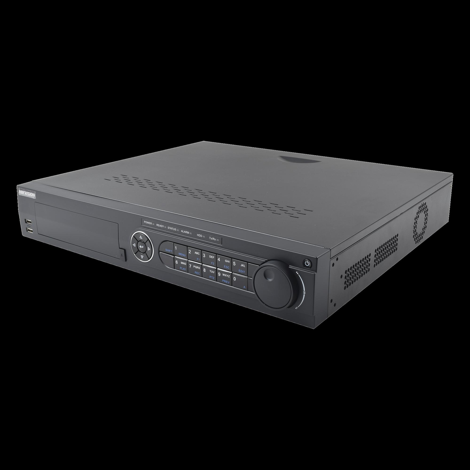 DVR 4 Megapixel / 24 Canales TURBOHD + 16 Canales IP / 4 Bahías de Disco Duro / 4 Canales de Audio / Videoanalisis / 16 Entradas de Alarma