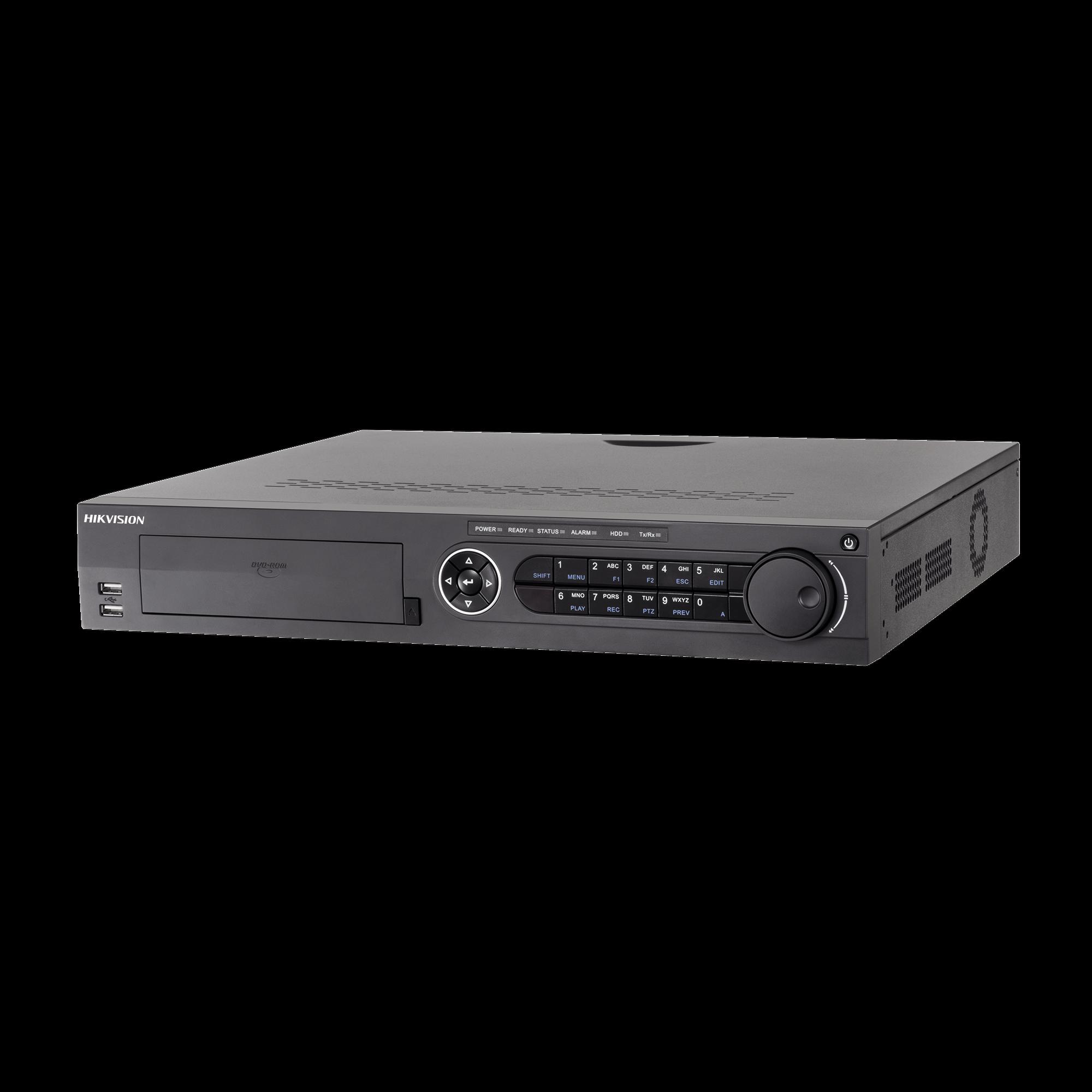 DVR 8 Megapixel / 24 Canales TURBOHD + 16 Canales IP / 4 Bahías de Disco Duro / 4 Canales de Audio / Videoanalisis / 16 Entradas de Alarma / Arreglo RAID