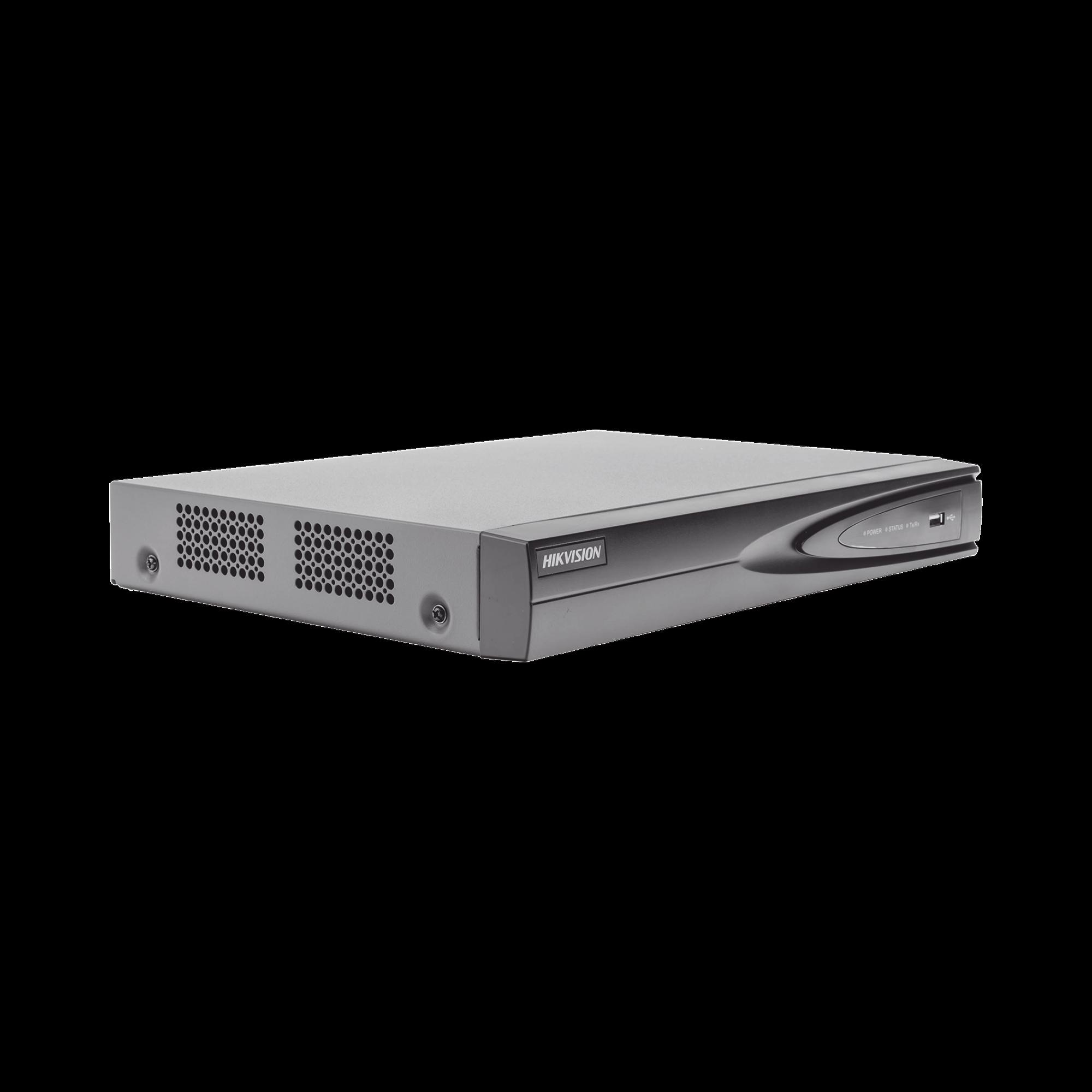 NVR 8 Megapixel (4K) / 4 canales IP / 1 Bahia de Disco Duro / 4 Puertos PoE+ / Salida de vídeo 4K