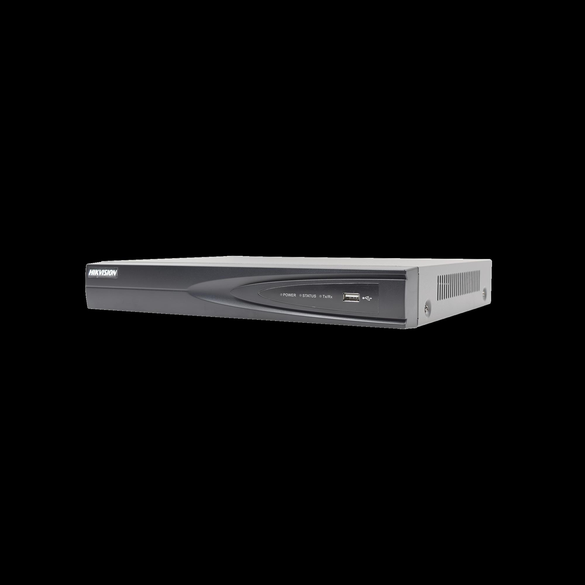 NVR 8 Megapixel (4K) / 4 canales IP / 1 Bahía de Disco Duro / 4 Puertos PoE+ / Salida de vídeo 4K / Videoanaliticos