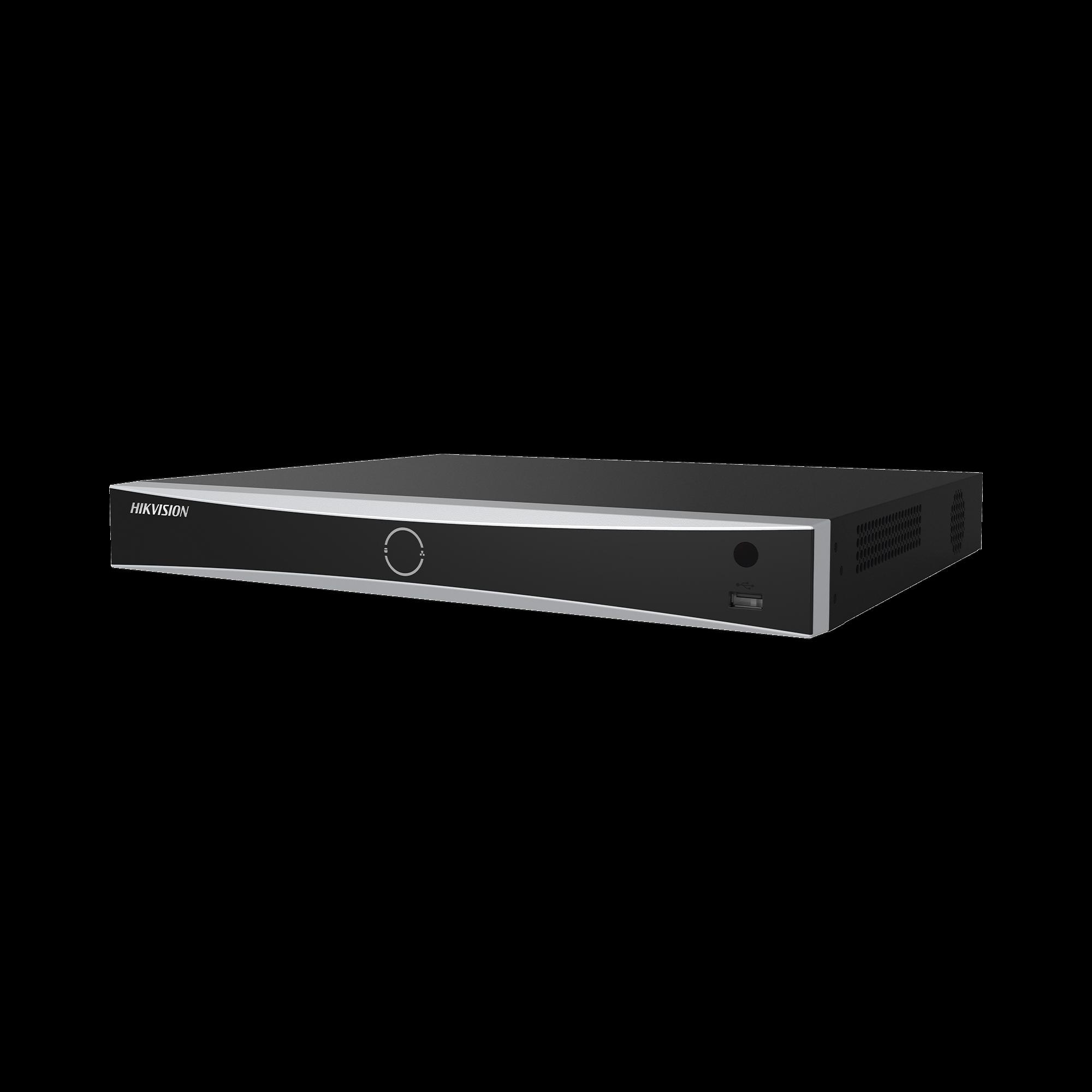 (ACUSENSE / Evita Falsas Alarmas) NVR 12 Megapixel (4K) / Reconocimiento Facial / 16 Canales IP / Base de Datos / 16 Puertos PoE+ / 2 Bahías de Disco Duro