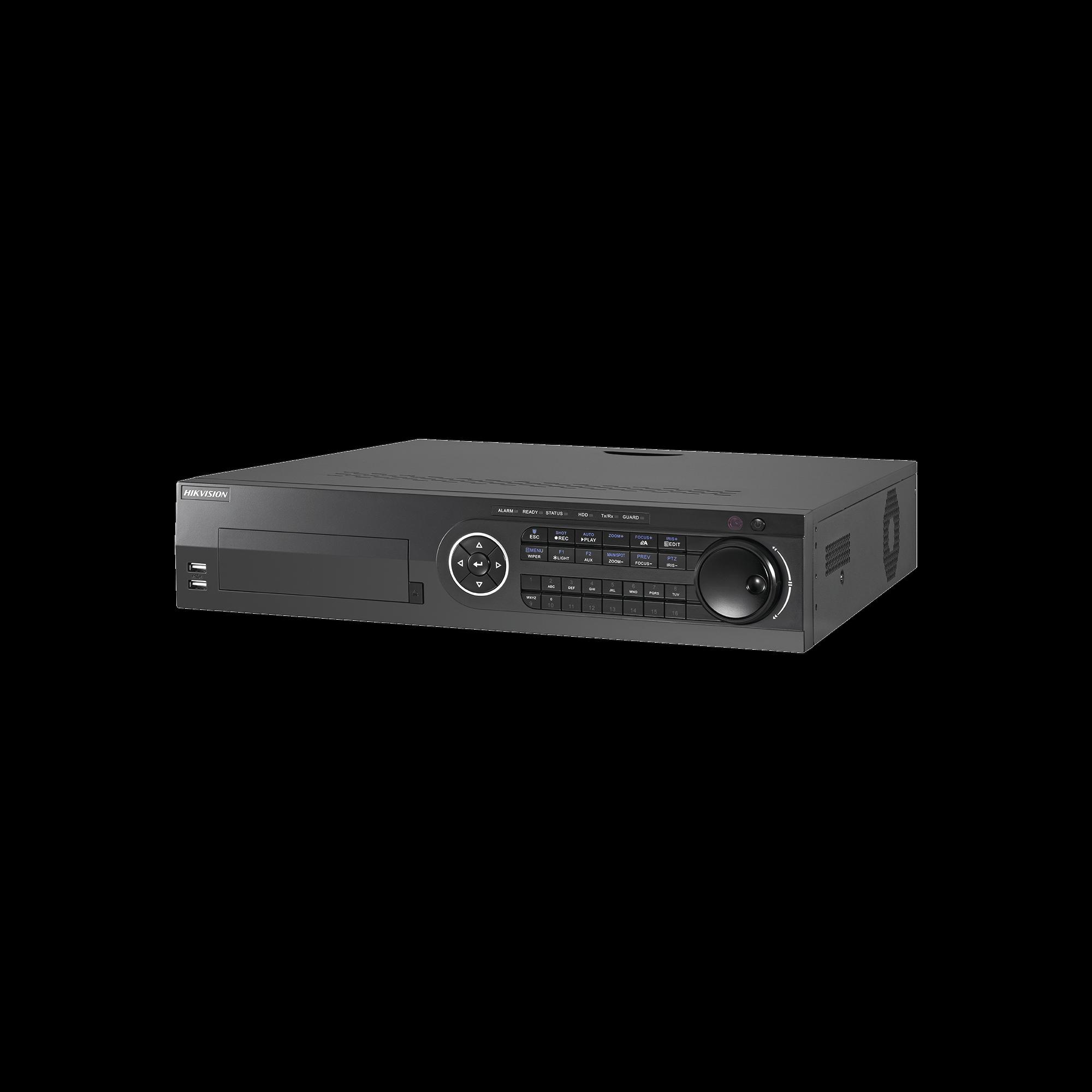 DVR 4 Megapixel / 24 Canales TURBOHD + 16 Canales IP / 8 Bahías de Disco Duro / 16 canales de Audio / 16 Entradas de  Alarma