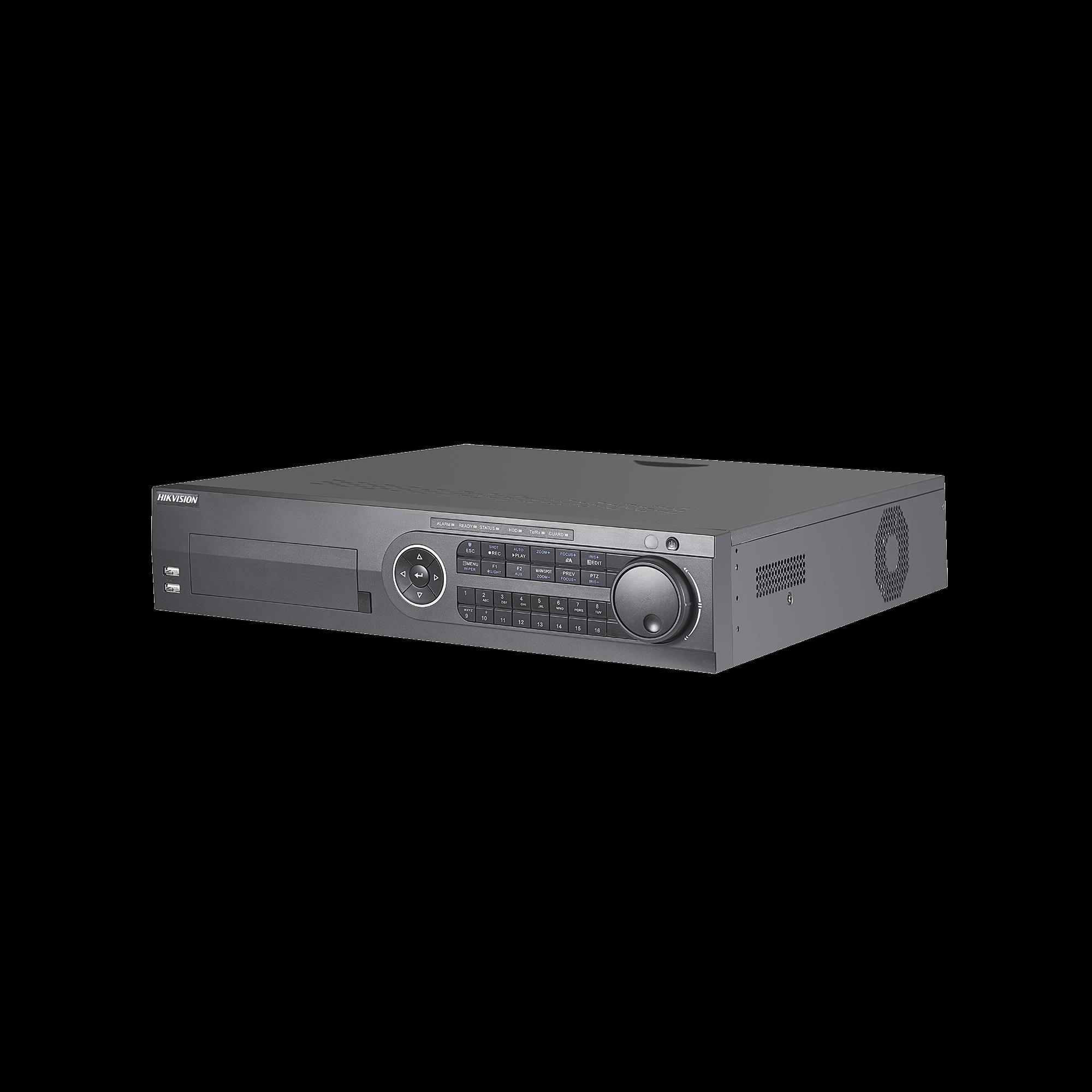 DVR 8 Megapixel / 32 Canales TURBOHD + 16 Canales IP / 8 Bahias de Disco Duro / Arreglo RAID / 16 canales de Audio / 16 Entradas de Alarma