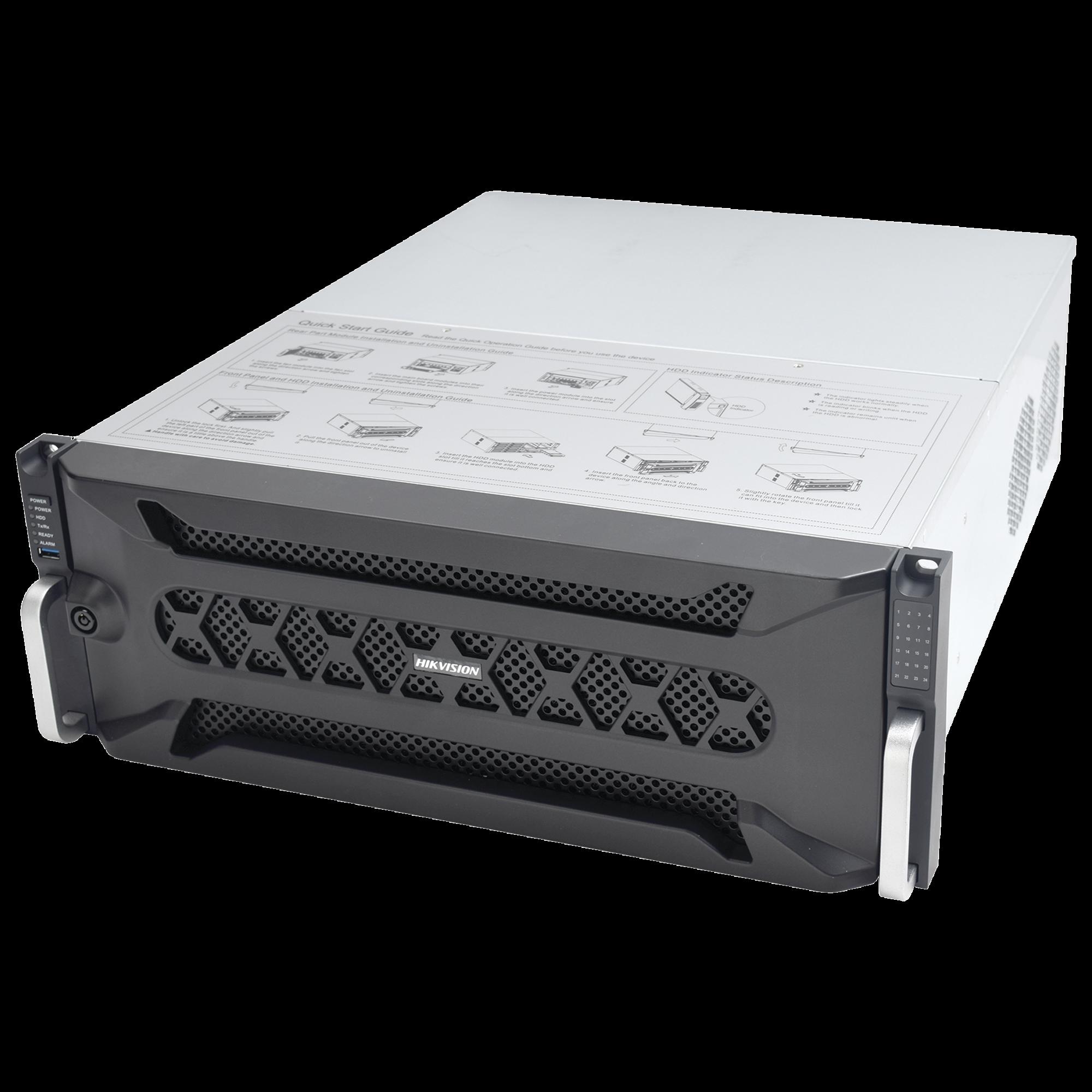 NVR 12 Megapixel (4K) / 128 canales IP / 24 Bahías de Disco Duro / 4 Puertos de Red / Soporta RAID con Hot Swap / NVR de Alto Desempeño