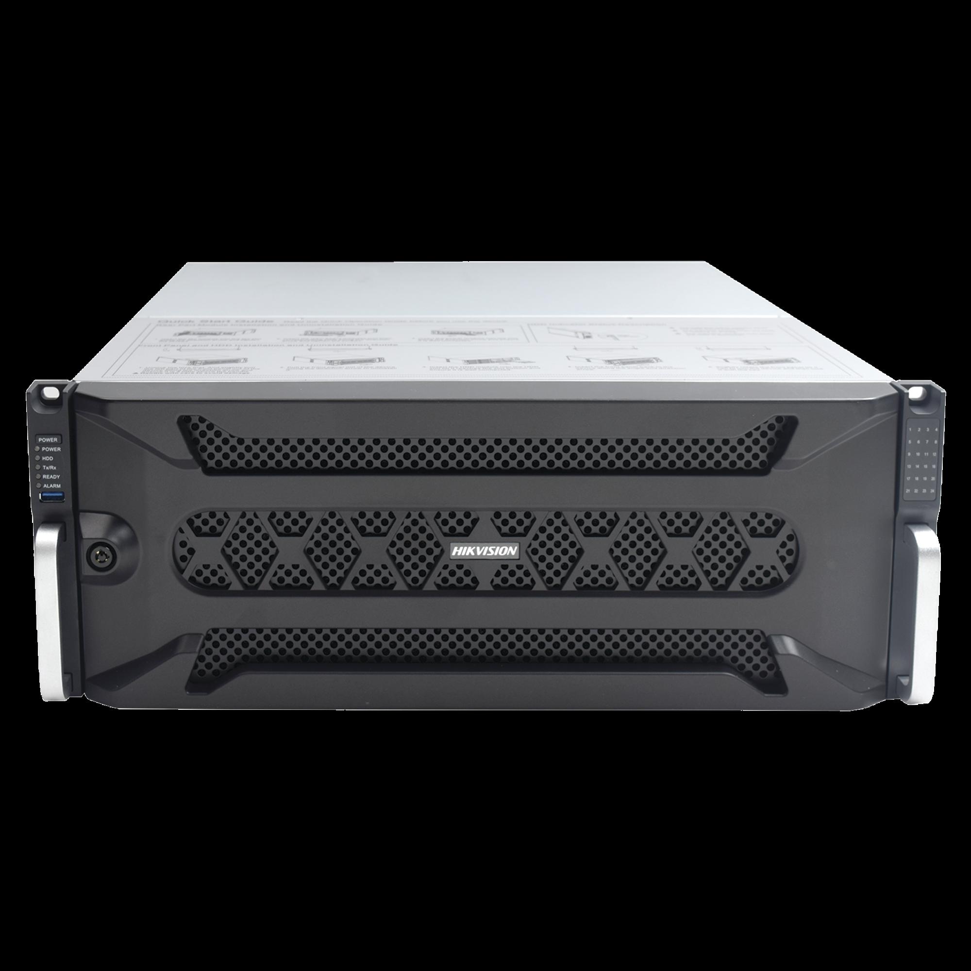 NVR 12 Megapixel (4K) / 256 canales IP / 24 Bahías de Disco Duro / 4 Puertos de Red / Soporta RAID con Hot Swap / NVR