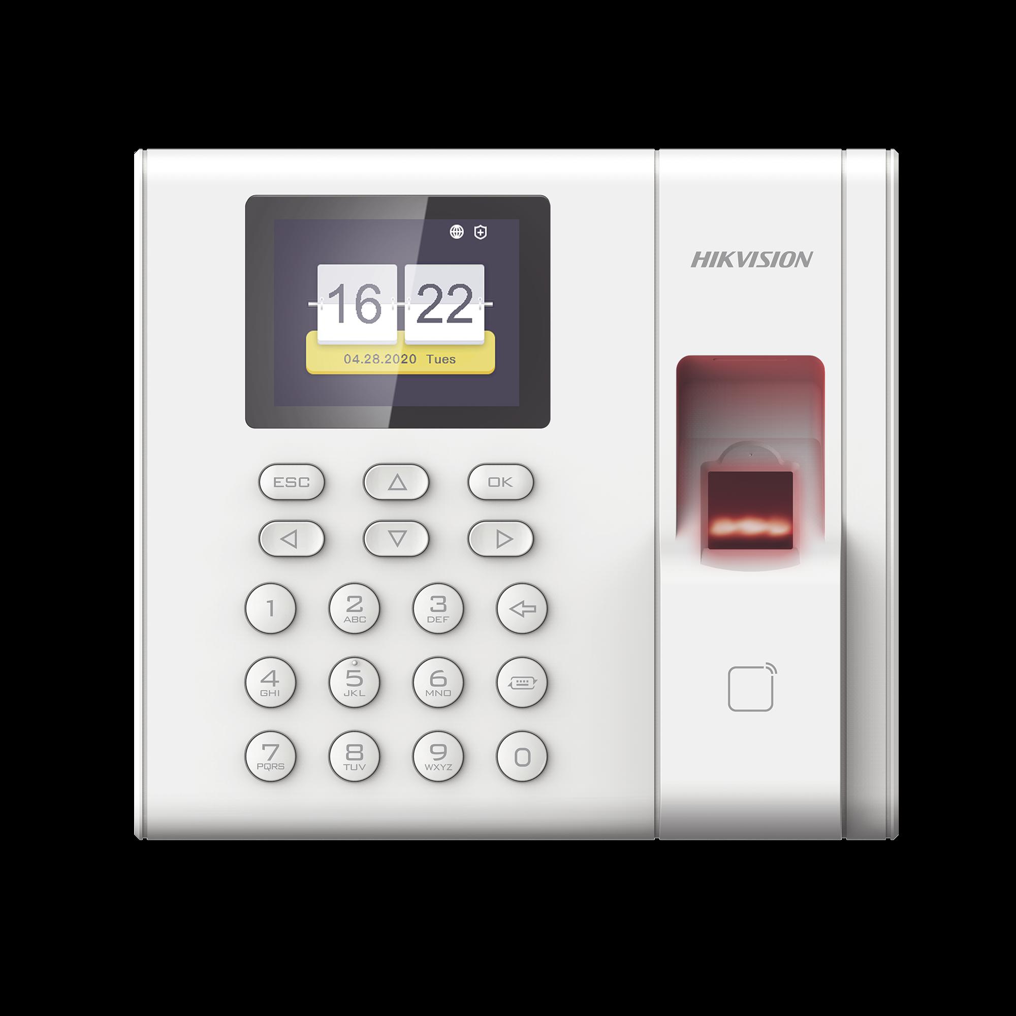 Checador de huella con batería de respaldo  / Reportes por USB / 1,000 usuarios / Lector de tarjetas EM / Uso con IVMS4200.
