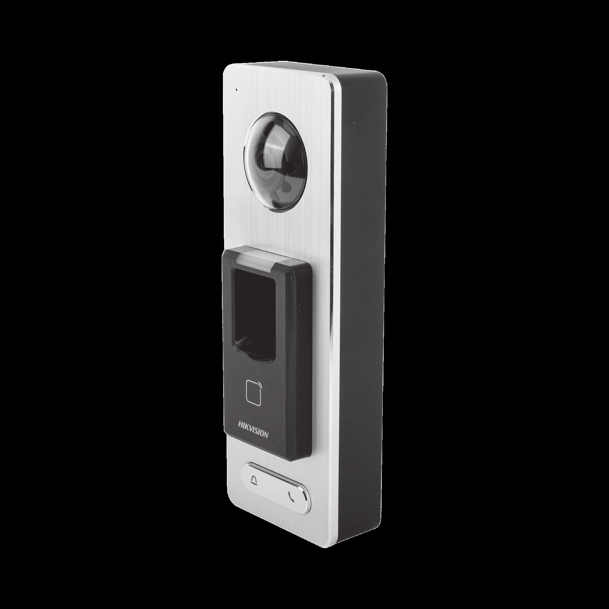 2 EN 1 / Lector Biométrico con Función de Videoportero Incluida/ Llamada a APP de Smartphone Hik-Connect P2P (No requiere monitor) / IP65 / Soporta Tarjetas - Huellas - Códigos QR / Cámara 2 MP Compatible con DVRs y NVRs