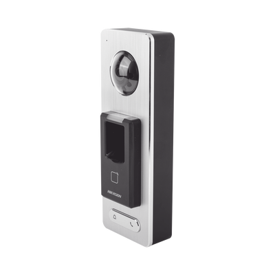 2 EN 1 / Lector Biométrico IP65 con Función de Videoportero y lector QR Incluida/ Llamada a APP de Smartphone Hik-Connect P2P (No requiere monitor) /  Soporta Tarjetas - Huellas - Códigos QR / Cámara 2 MP Compatible con DVRs y