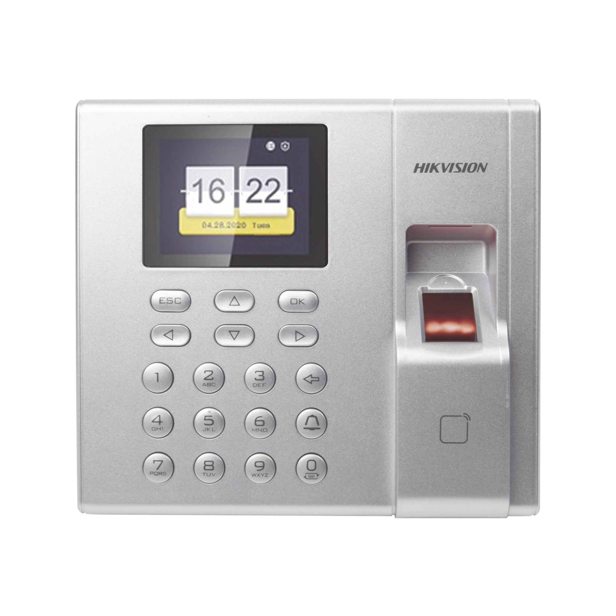 Terminal de Control de Acceso y Asistencia compatible con APP Hik-Connect (P2P) / Lectura de Huella y de Tarjetas EM / Soporta hasta 1000 Huellas / Relevador para Chapa / Software iVMS4200