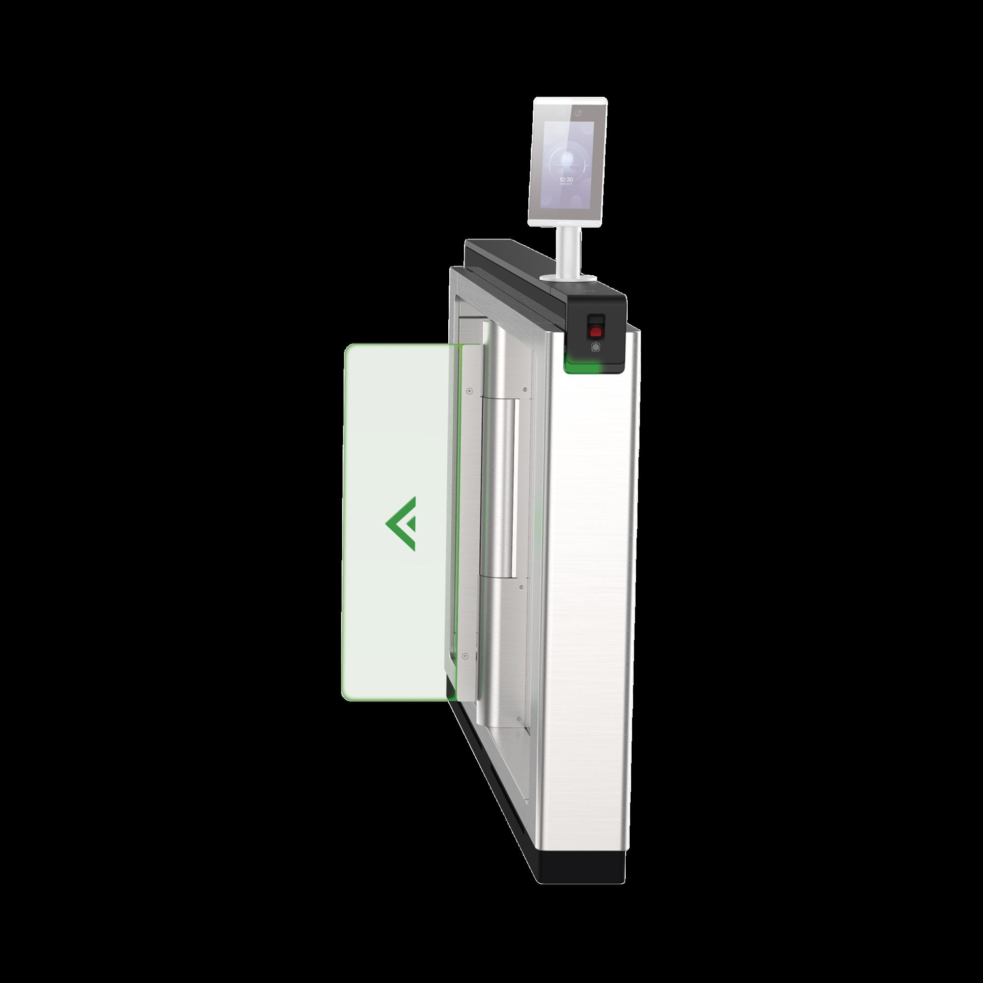 Torniquete de Apertura para Lado Derecho / Metal / Con 12 Pares de Detectores IR / Soporta Terminal de Reconocimiento Facial