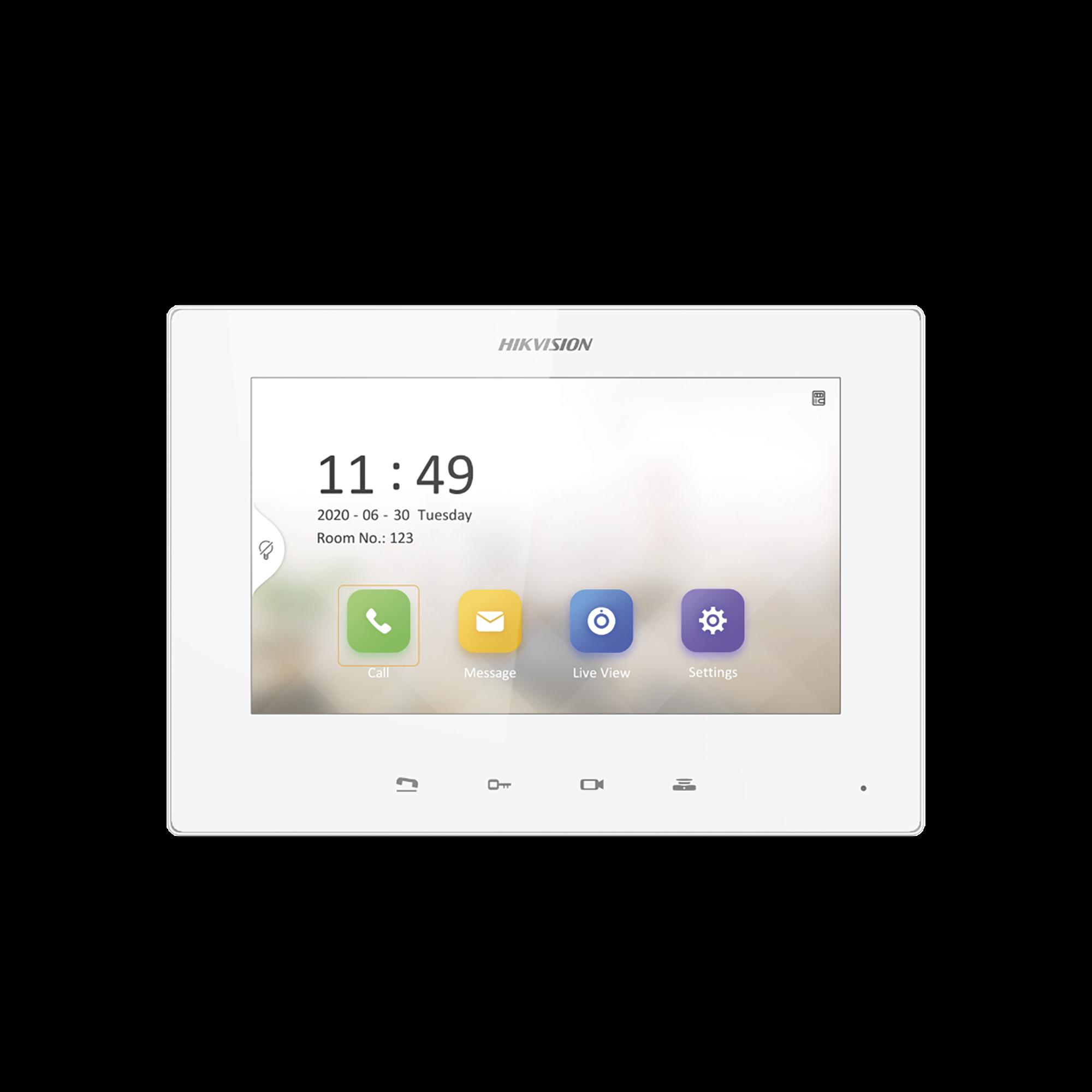 Monitor IP Lite Color BLANCO (No touch) para Videoportero IP / Apertura Remota y Video en Vivo /  PoE Estándar / Principal o Esclavo