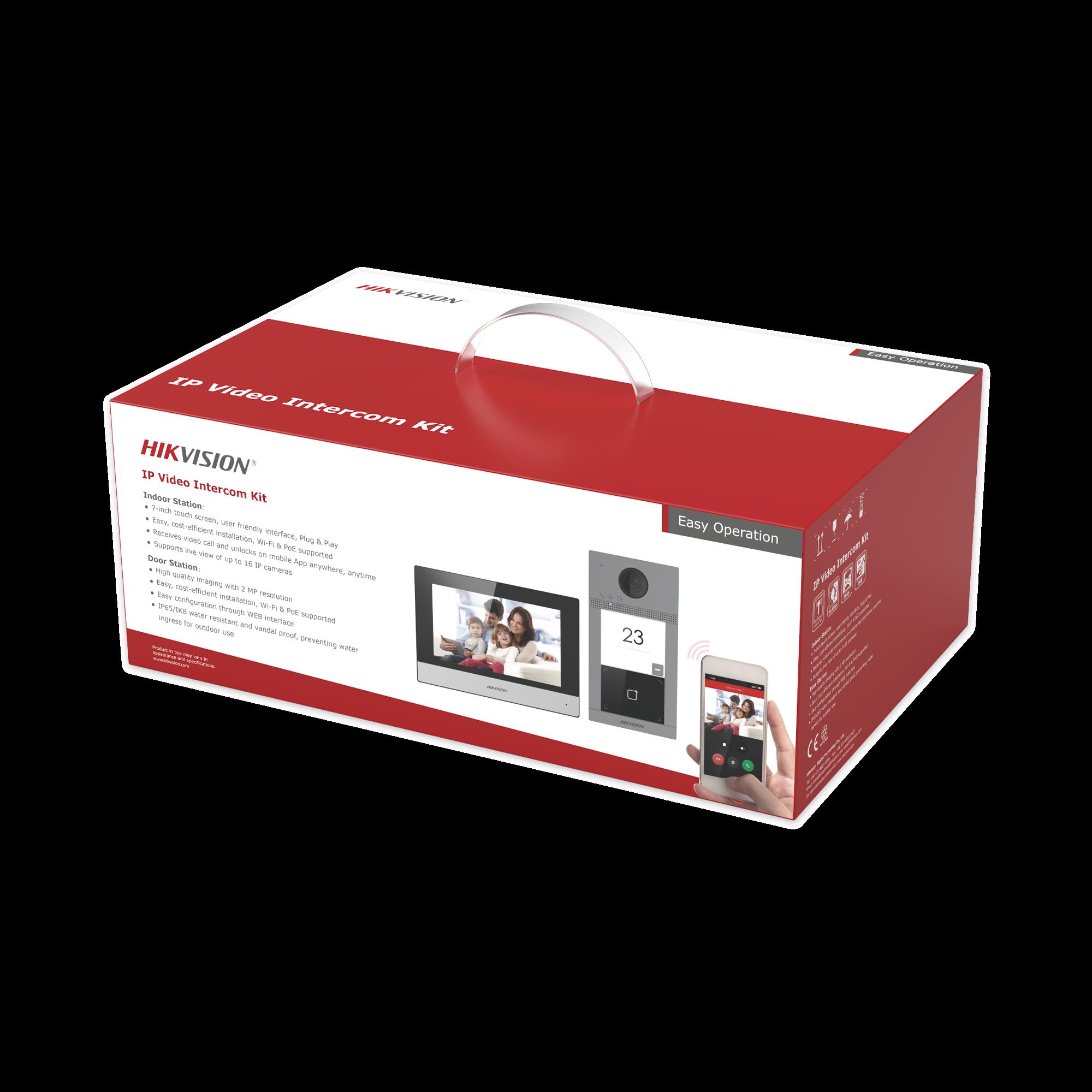 Kit de Videoportero IP WiFi con llamada a App de Smartphone (HikConnect) / Programacion por Interfaz Web / Frente de calle IK08 & IP65 / Soporta PoE