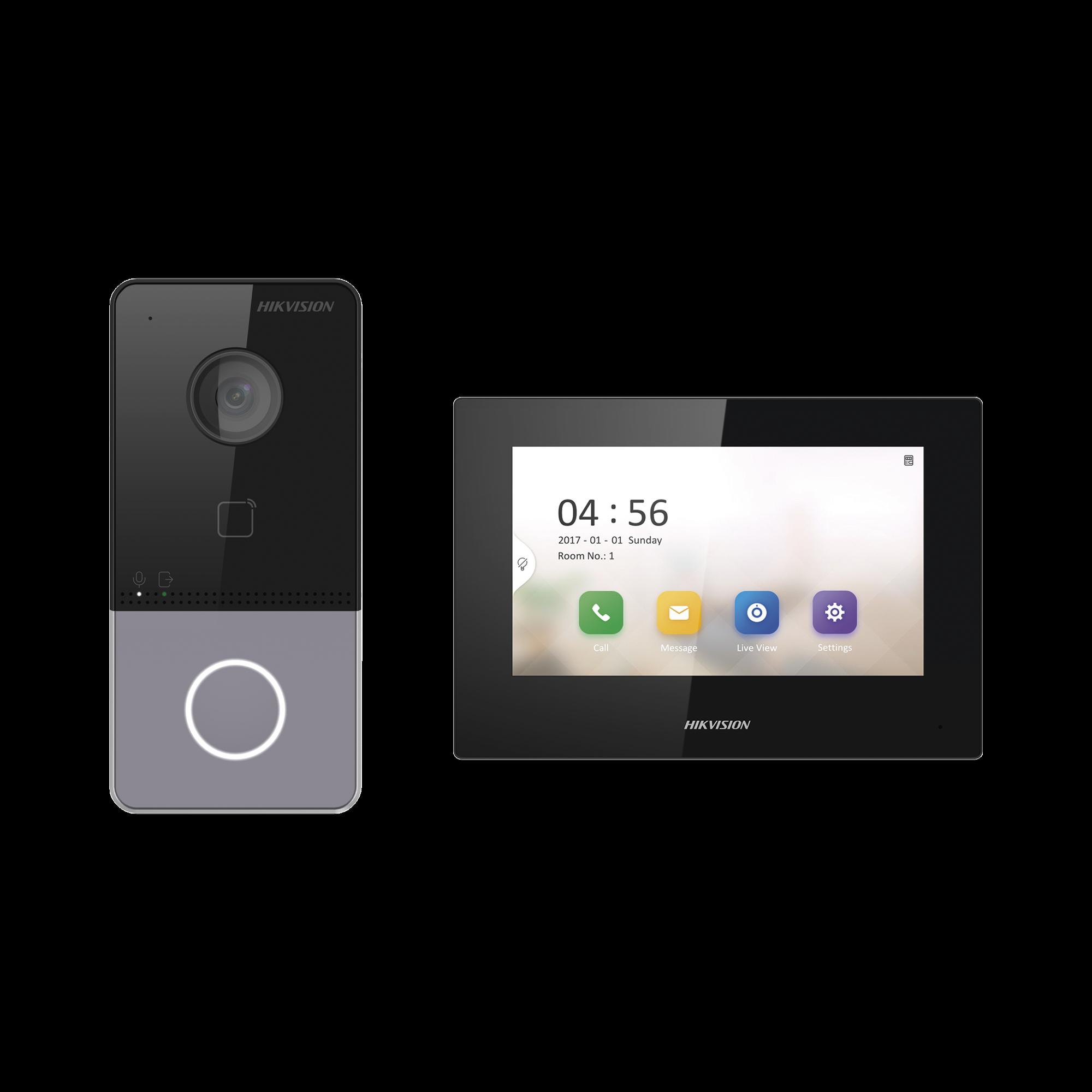 Kit de Videoportero IP LITE con llamada a App de Smartphone (HikConnect) / Frente de calle IP65 / Soporta PoE Estándar