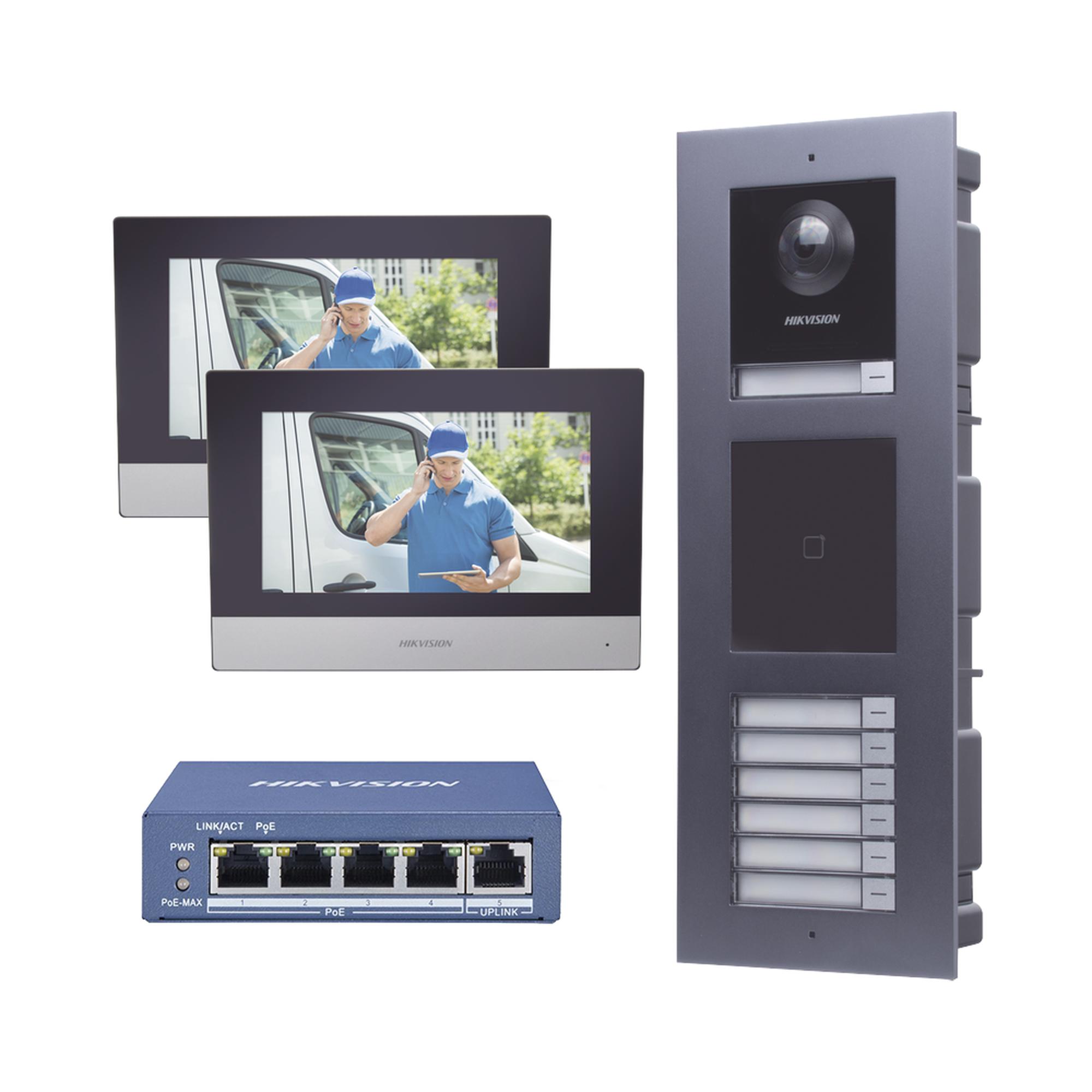 KIT de Videoportero IP para 7 DEPARTAMENTOS con llamada a App de Smartphone y Lector de Tarjetas EM / 2da Generación (Modular) / Montaje para EMPOTRAR incluido