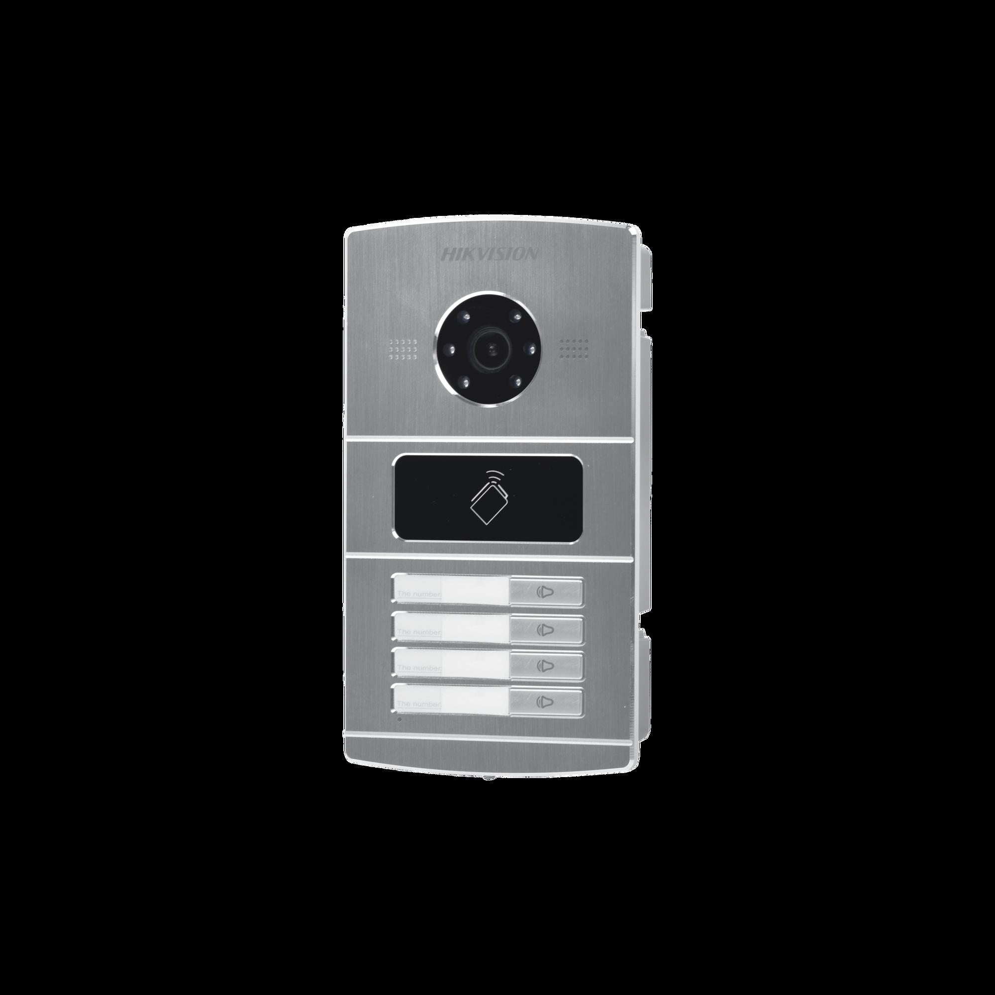 Frente de Calle IP 1.3 Megapixel / Lector de Tarjetas MIFARE para Función de Acceso / Metal / Sistema de 4 Apartamentos