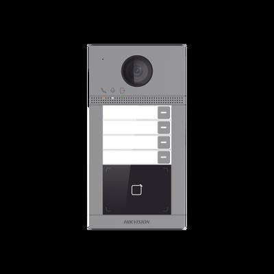 Videoportero IP WIFI (IP65 + IK08) con Llamada y apertura desde APP Hik-Connect / Soporta 4 Departamentos / PoE Estandar / Interfaz WEB para configuración / 2 puertas