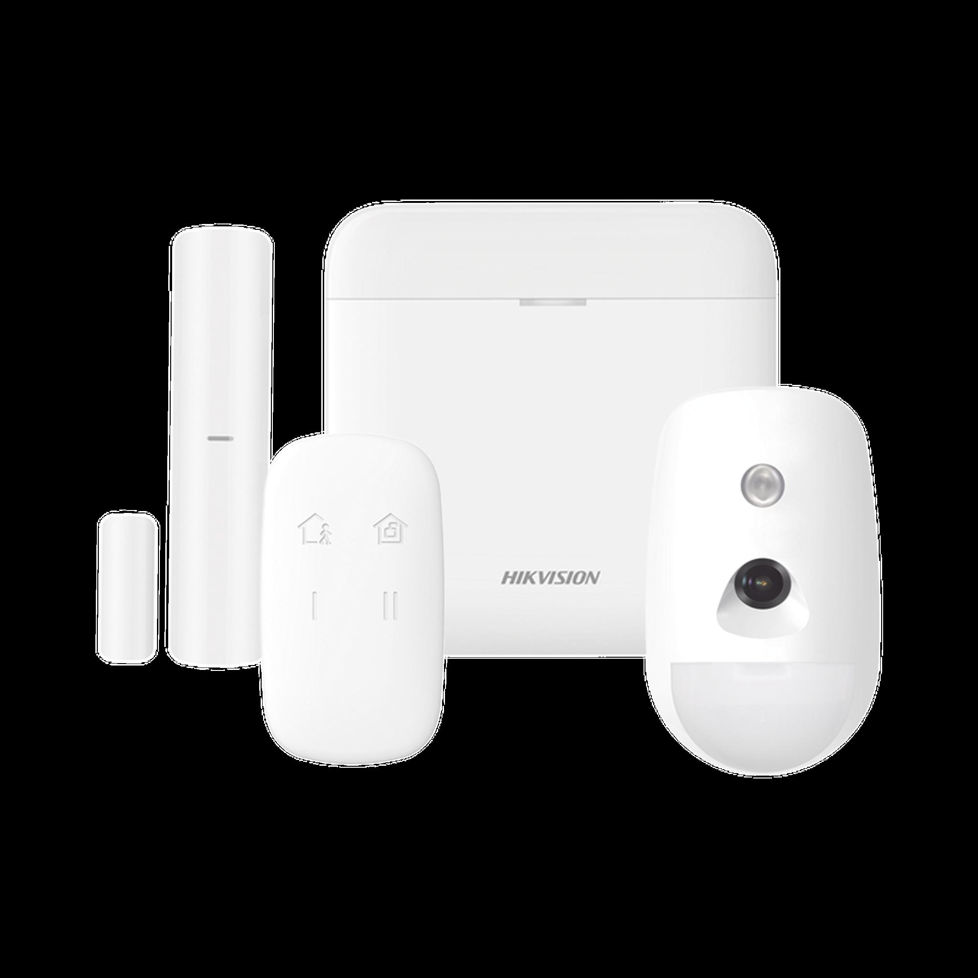 (AX PRO) KIT de Alarma AX PRO / Incluye: 1 Hub / 1 Sensor PIR con Cámara / 1 Contacto Magnético / 1 Control Remoto / WiFi / Compatible con Hik-Connect P2P