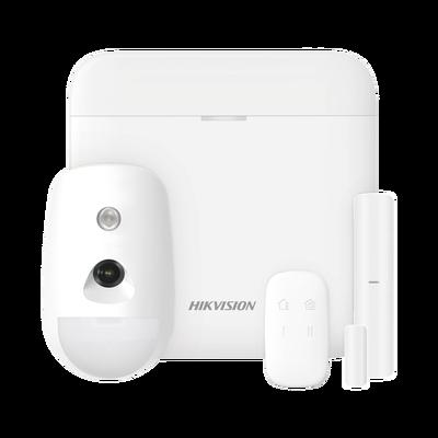 (AX PRO) KIT de Alarma AX PRO con GSM (3G/4G) / Incluye: 1 Hub / 1 Sensor PIR con Cámara / 1 Contacto Magnético / 1 Control Remoto / WiFi / Compatible con Hik-Connect P2P