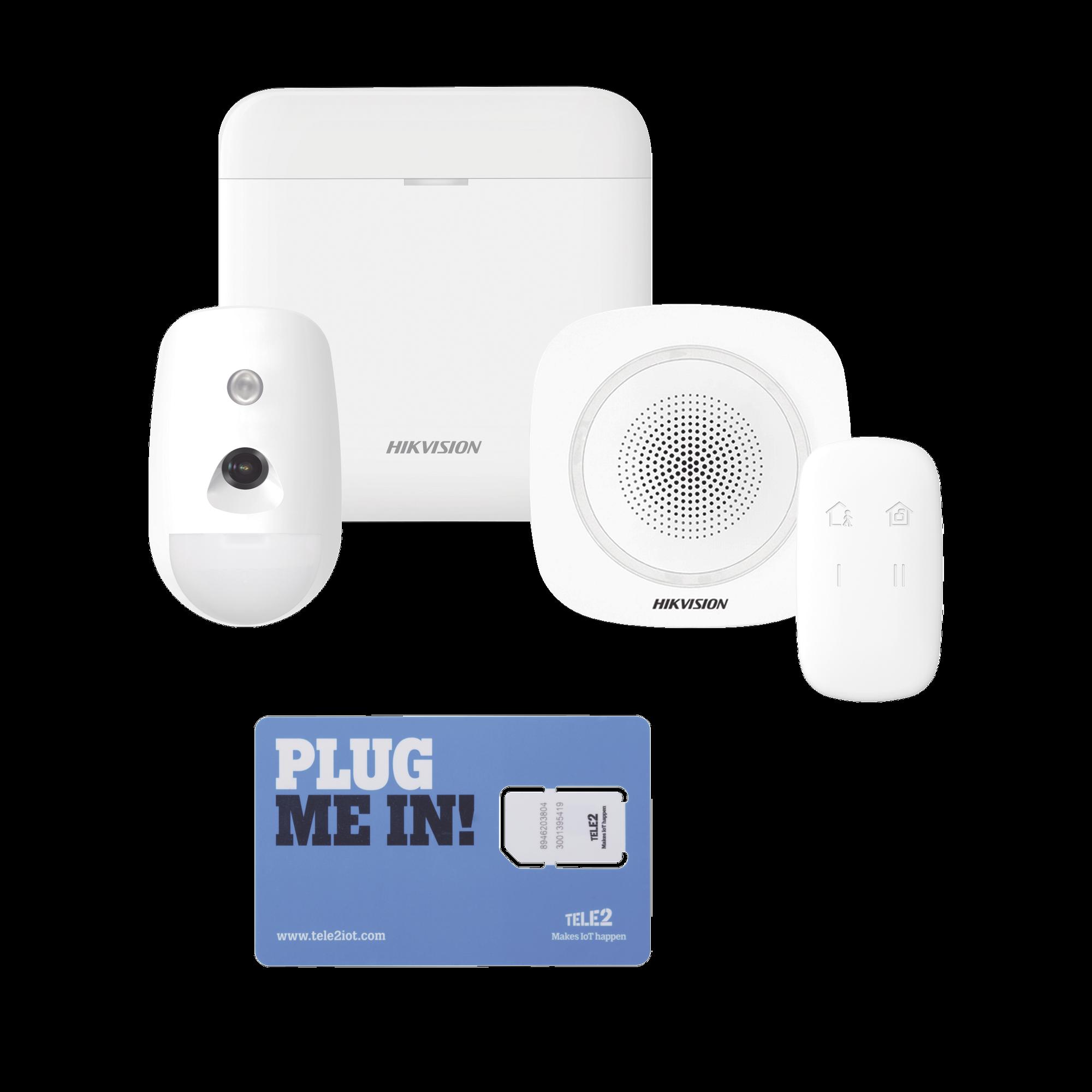 (AX PRO) KIT de Alarma AX PRO con GSM (3G/4G) / Incluye: 1 Hub / 1 Sensor PIR con Cámara / 1 Sirena Interior / 1 Control Remoto / WiFi / Compatible con Hik-Connect P2P