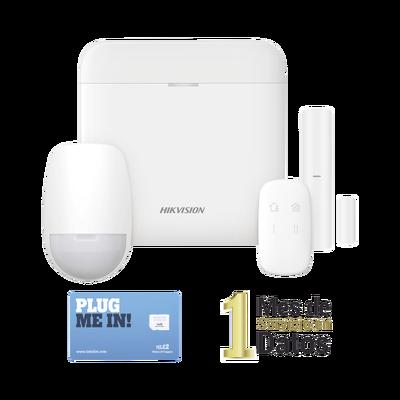 (AX PRO) KIT de Alarma AX PRO con GSM (3G/4G) / Incluye: 1 Hub / 1 Sensor PIR / 1 Contacto Magnético / 1 Control Remoto /1 MICROSIM30M2M incluye 1 mes de servicio/ Wi-Fi / Compatible con Hik-Connect P2P