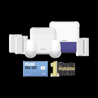 (AX PRO) KIT de Alarma AX PRO con GSM (3G/4G) / Incluye: 1 Hub / 2 Sensores PIR / 3 Contactos Magnéticos mini / 1 Control Remoto / 1 Sirena Inalambrica Exterior  / 1 WiFi / 1 MICROSIM30M2M con 1 mes de servicio/Compatible con Hik-Connect P2P