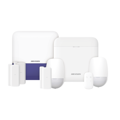 (AX PRO) KIT de Alarma AX PRO con GSM (3G/4G) / Incluye: 1 Hub / 2 Sensores PIR / 3 Contactos Magnéticos mini / 1 Control Remoto / 1 Sirena Inalambrica Exterior  / WiFi / Compatible con Hik-Connect P2P