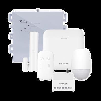 (AX PRO + YONUSA) KIT de Alarma AX PRO / Incluye: 1 Hub / 1 Energizador 2500Mts Lineales / 1 Relevador 0 a 36 VCD (Max. 5 A) con Entrada de Alarma 27/7 / 1 Keyfob / 1 PIR Interior / 1 Magnético