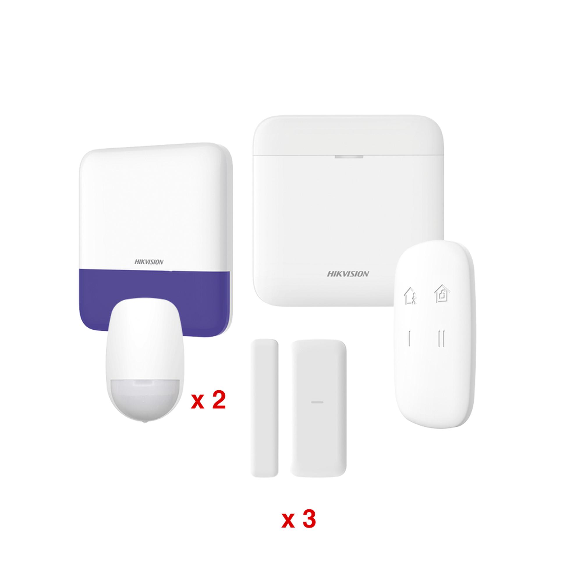 (AX PRO) KIT de Alarma AXP RO / Incluye: 1 Hub / 2 Sensores PIR / 3 Contactos Magnéticos mini / 1 Control Remoto / 1 Sirena Inalambrica Exterior  / WiFi / Compatible con Hik-Connect P2P